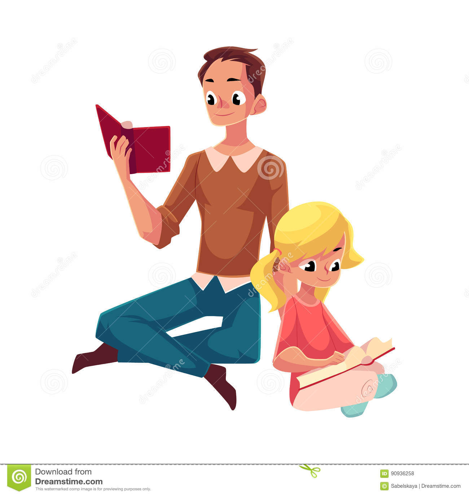 Młodego człowieka i małej dziewczynki czytelnicze książki siedzi nogi krzyżować