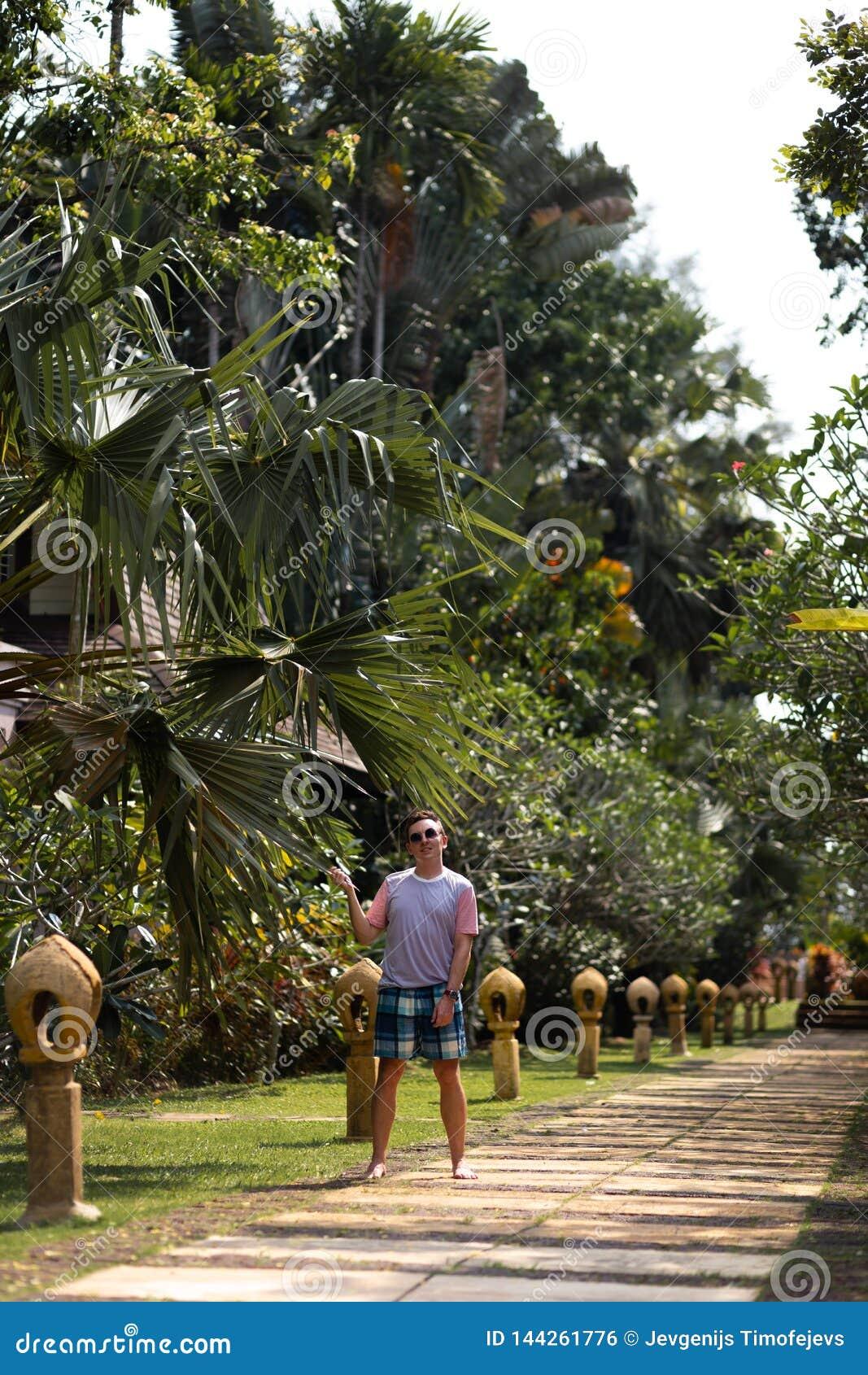 Młodego człowieka travaler odprowadzenie w palmowym parku na Ko Chang, Tajlandia w Kwietniu, 2018 - Najlepszy podróży miejsce prz
