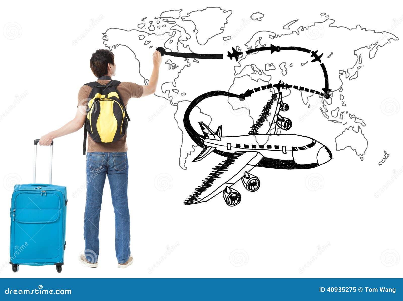 Młodego podróżnika rysunkowy samolot i linii lotniczej ścieżka na mapie