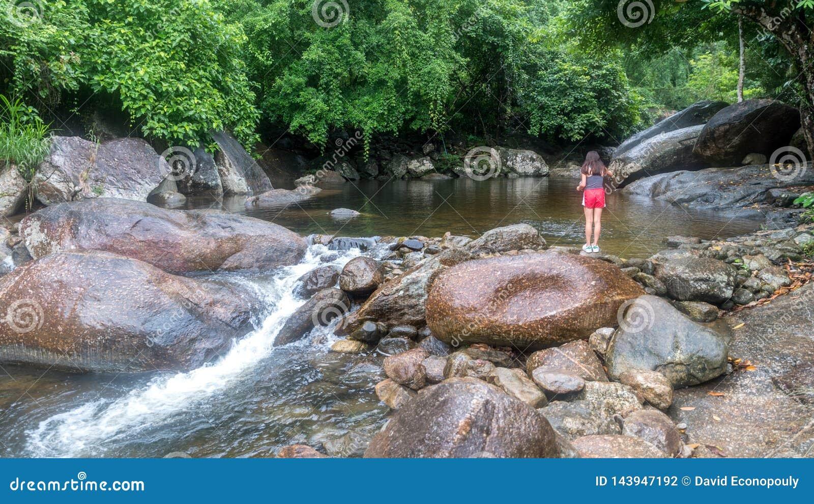 Młodej dziewczyny karmienia ryba rzeką