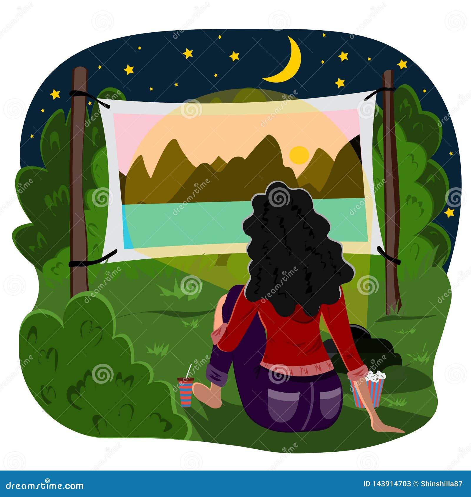 Młodej dziewczyny obsiadanie w parku outdoors, dopatrywaniu i film