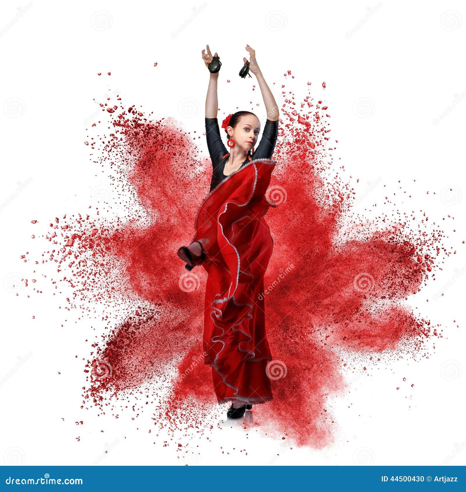 Młodej kobiety dancingowy flamenco przeciw wybuchowi