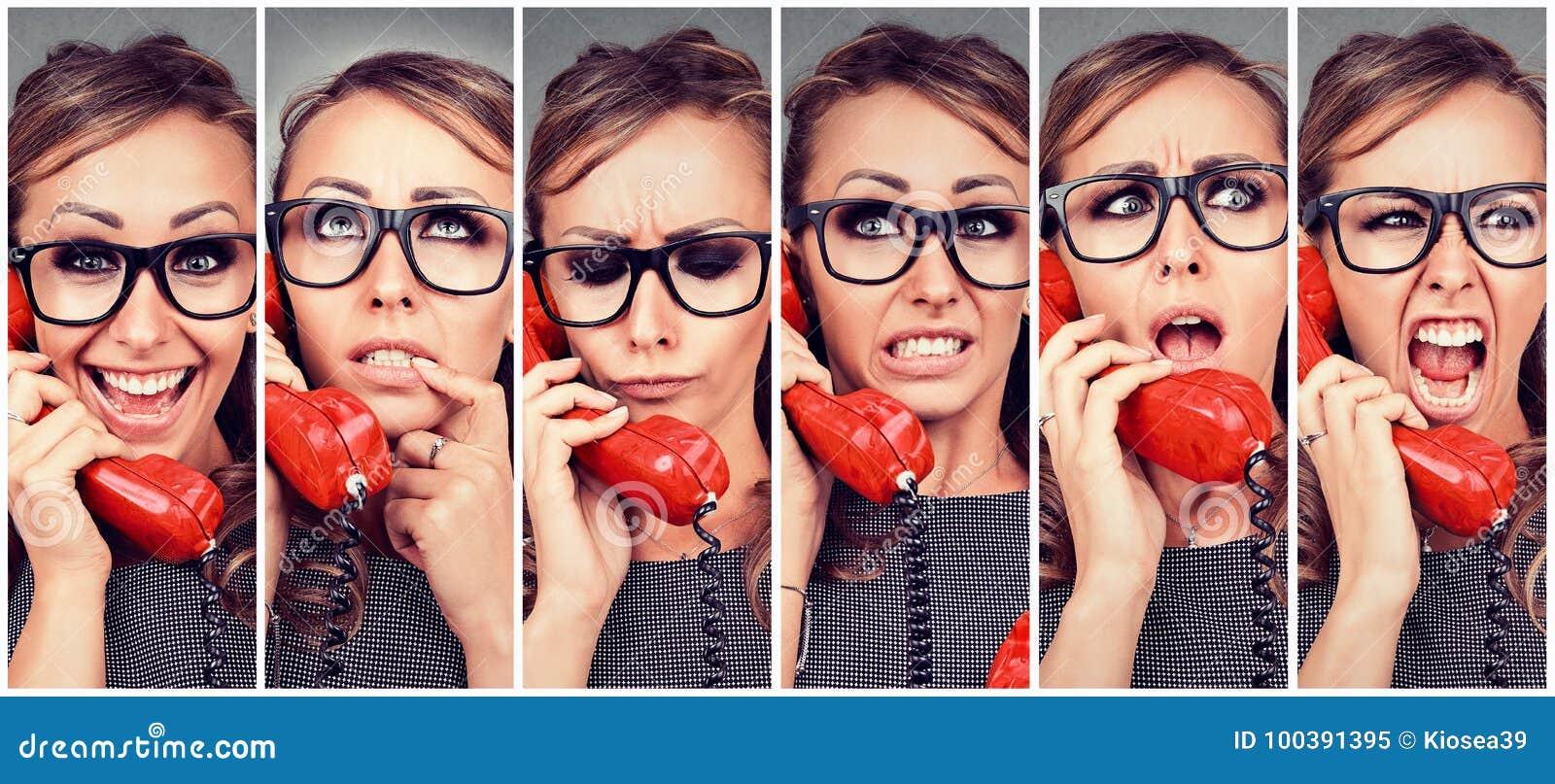 Młodej kobiety odmieniania emocje od szczęśliwego gniewny podczas gdy odpowiadający telefon