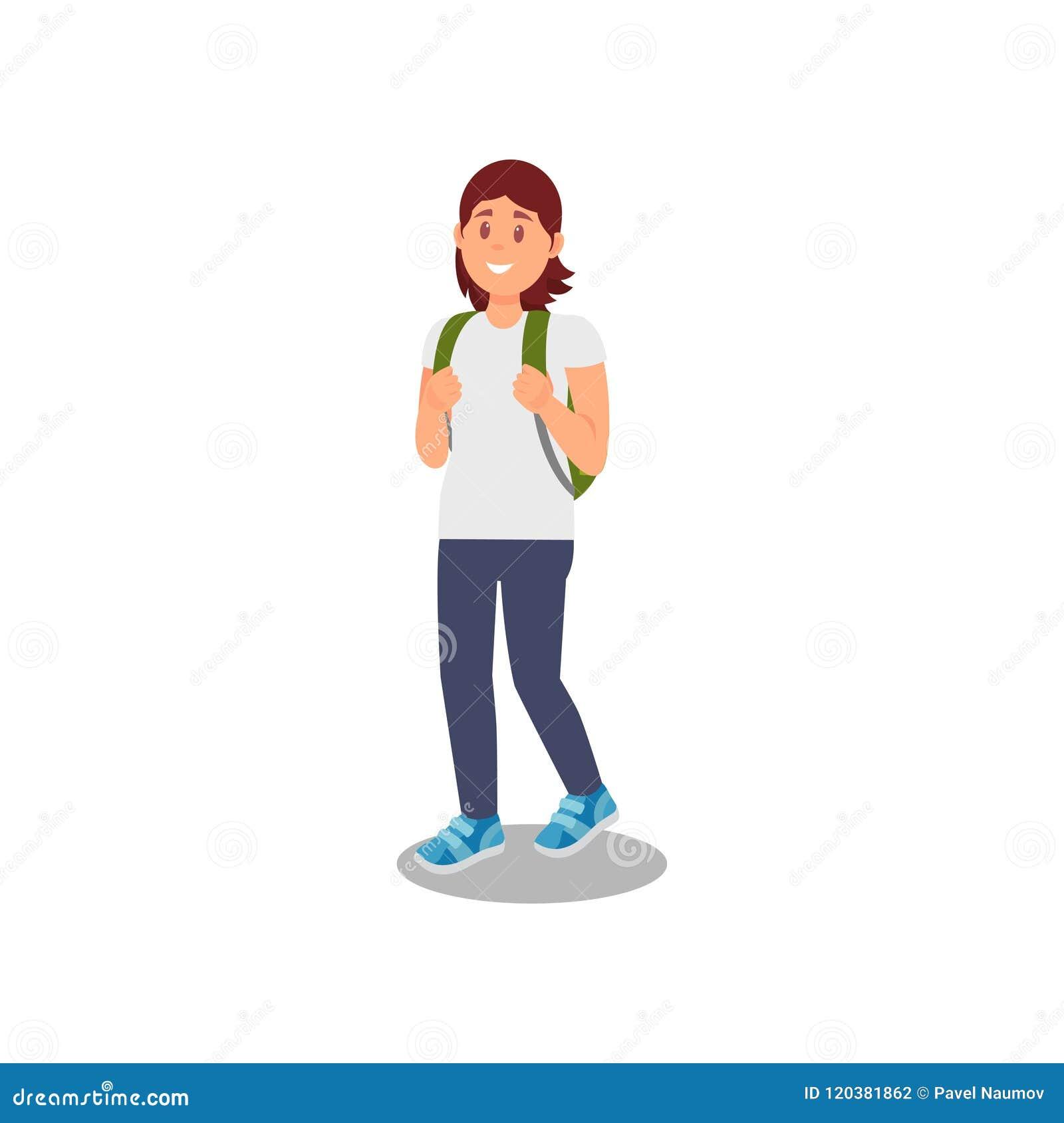 Młodej kobiety odprowadzenie z plecaka, zdrowego i aktywnego stylu życia wektorową ilustracją na białym tle,