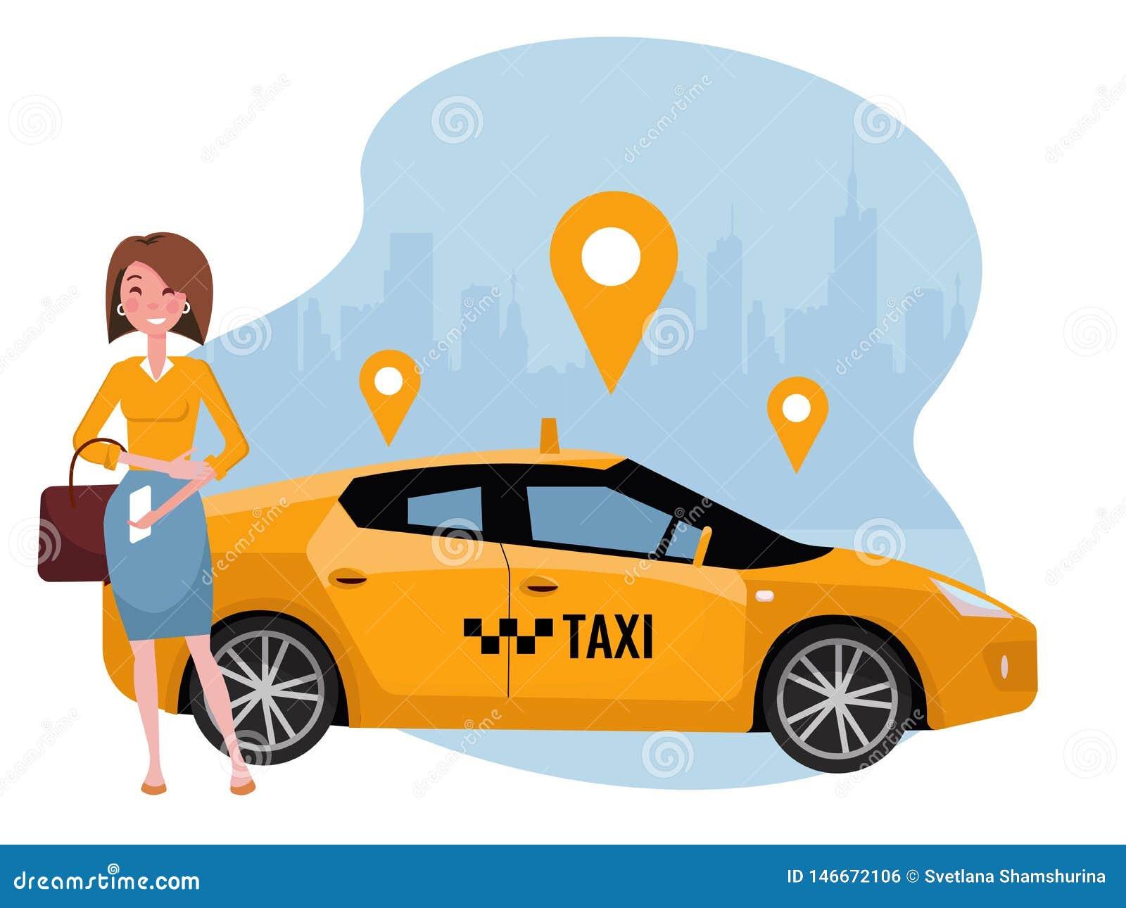Młodej kobiety rozkazuje taxi na telefonie komórkowym Dzierżawi samochodowego używa mobilnego app Online taxi app pojęcie Żółty s