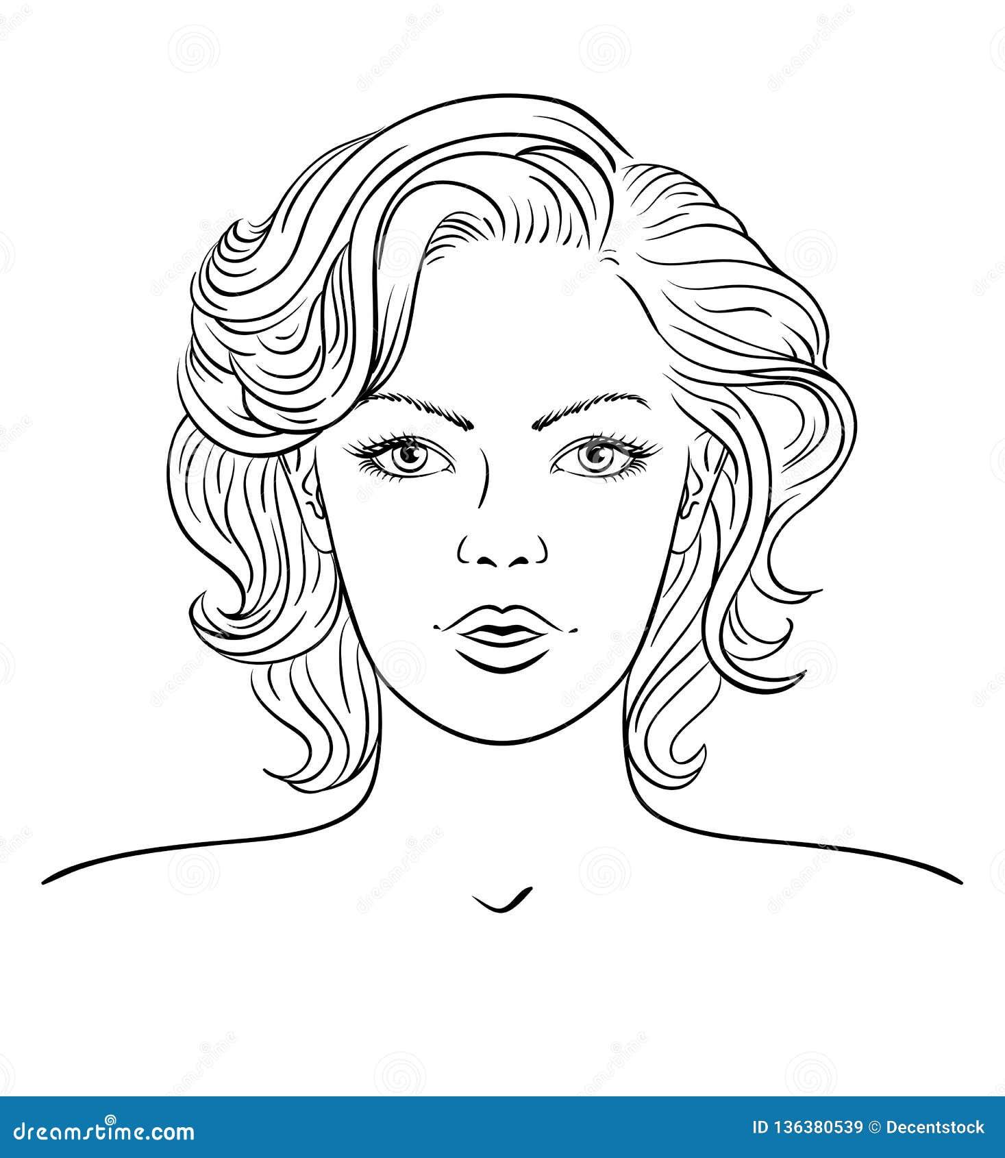 Młodej kobiety twarz abstrakcjonistyczna sztandaru mody fryzury ilustracja