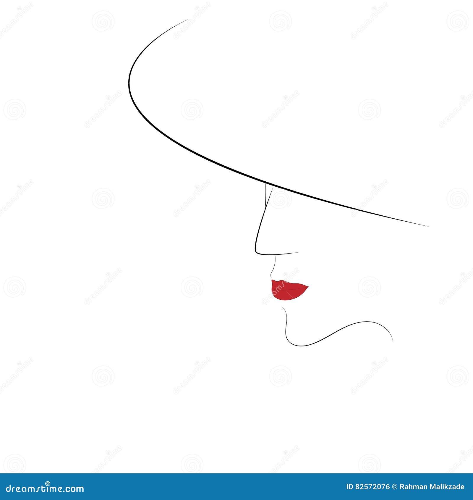 Młody ładny kobieta portreta nakreślenia wektor eps 10