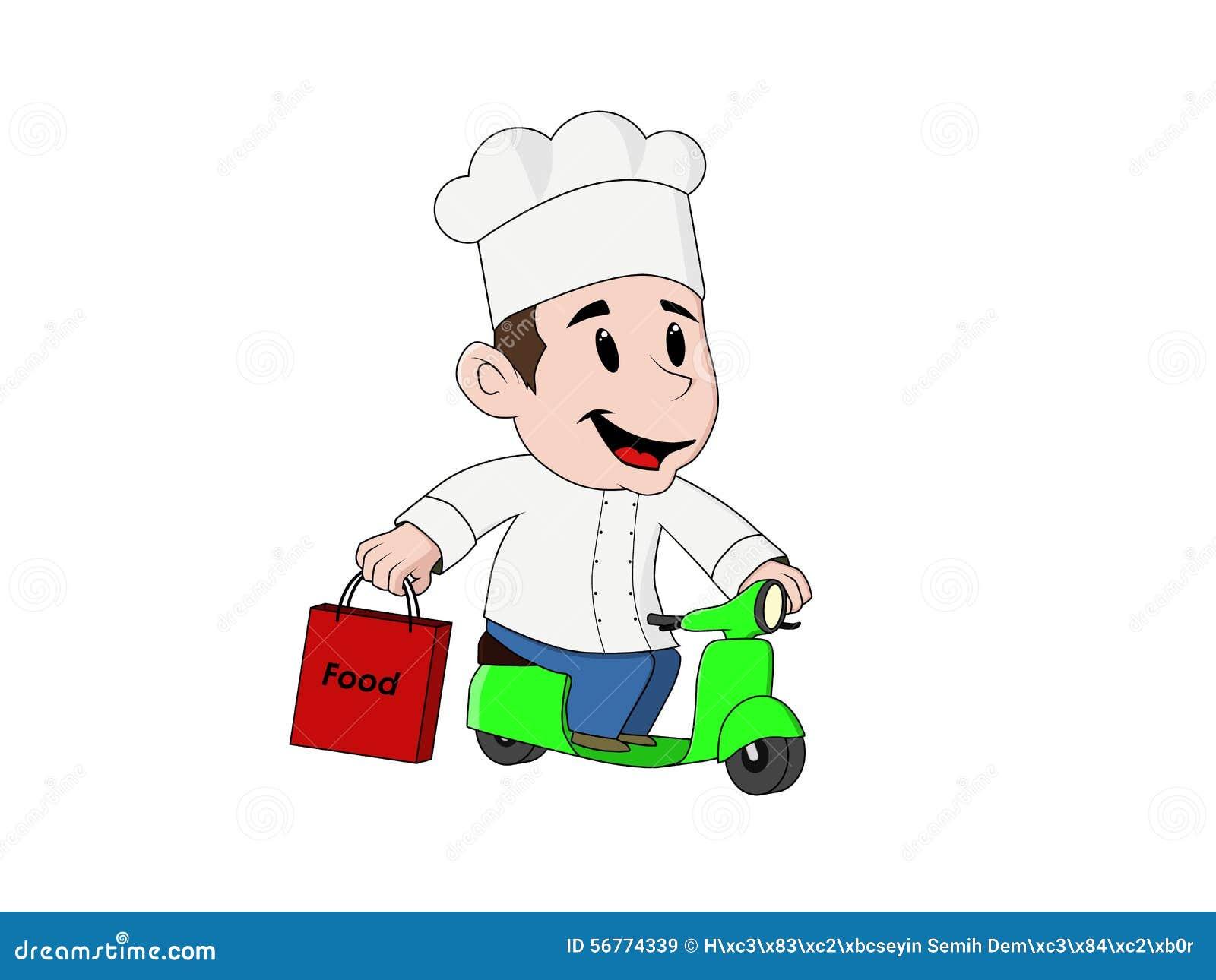 Młody życzliwy dostawa kucharz z motocyklem