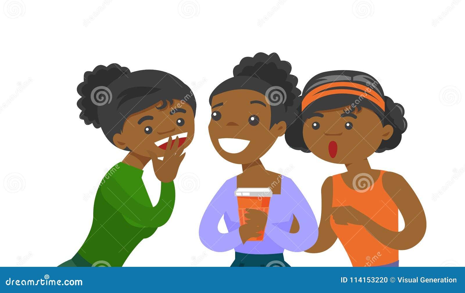 Młody afroamerykański kobiet dzielić plotkuje