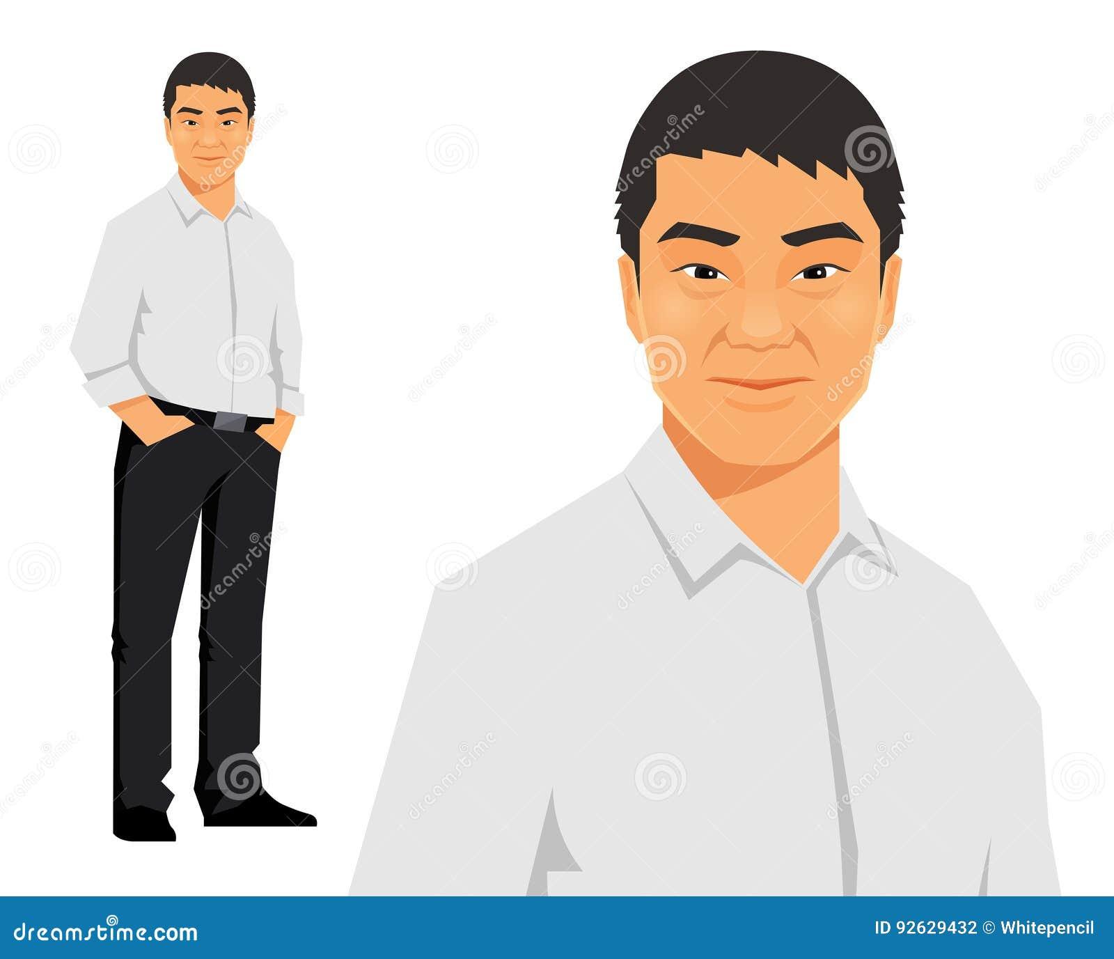 Młody azjata, chińczyk, przypadkowa biznesowego mężczyzna pozycja