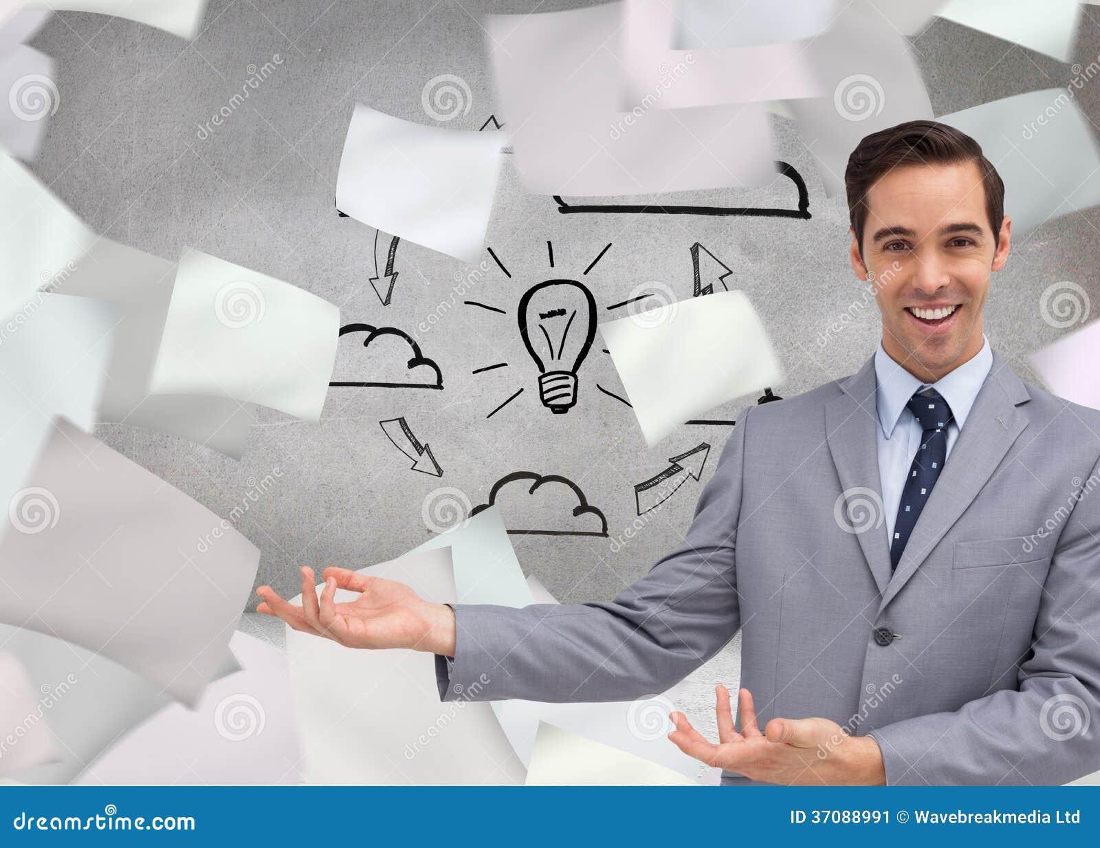 Download Młody Biznesmen Przedstawia Coś Obraz Stock - Obraz złożonej z digitise, charcica: 37088991