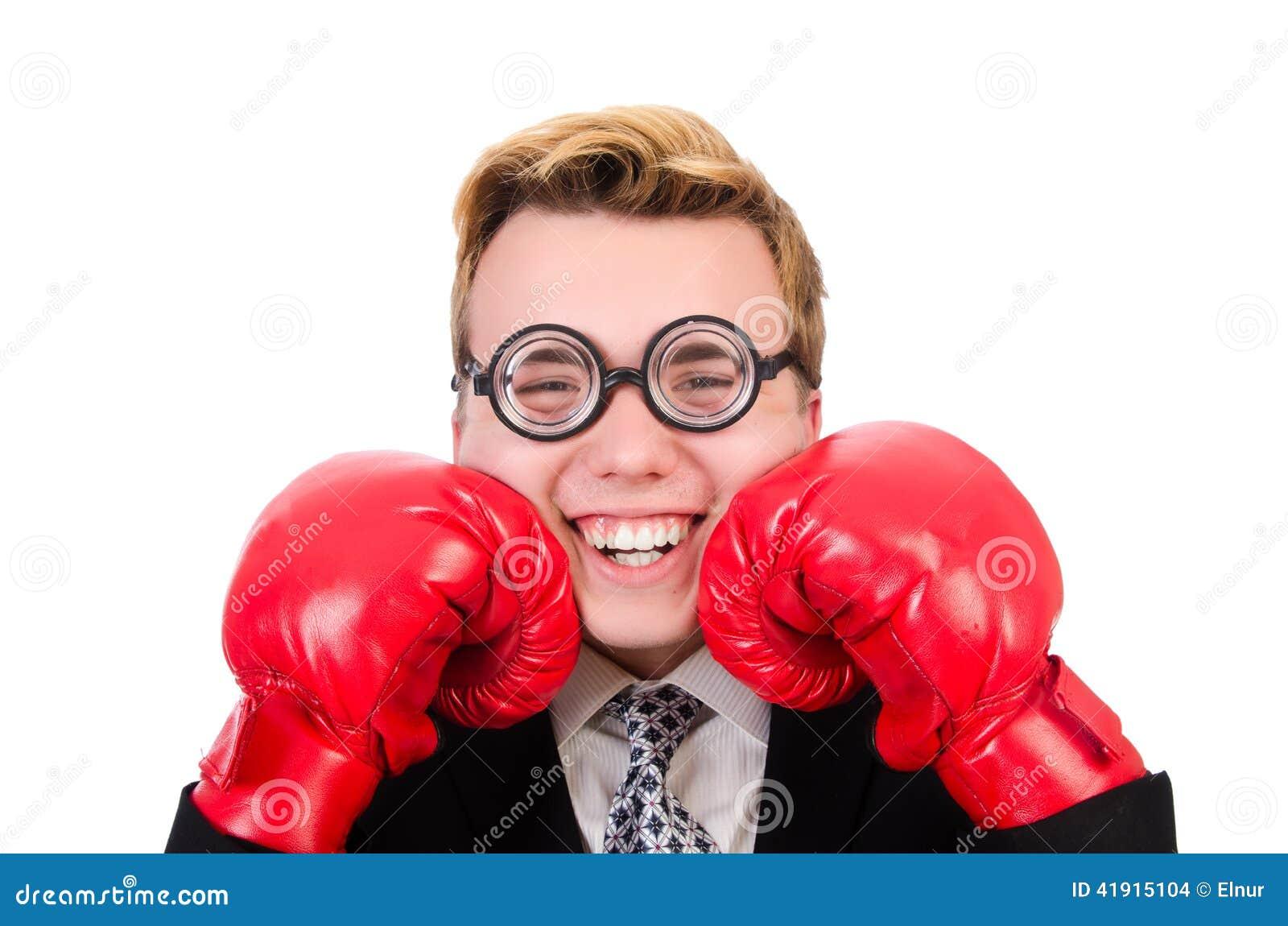 Młody biznesmena bokser odizolowywający