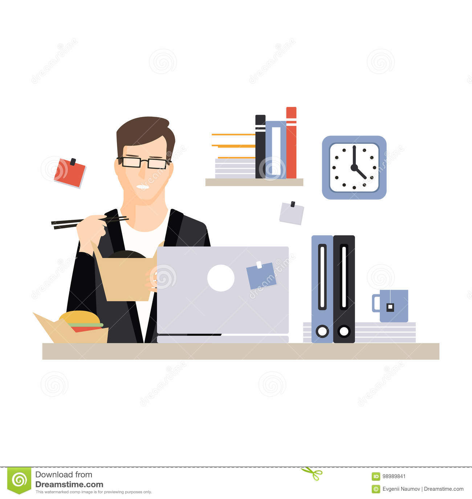 Młody biznesmena charakteru łasowania fast food przy jego biurowym miejscem pracy, życie codzienne biurowy pracownik, pracujący m