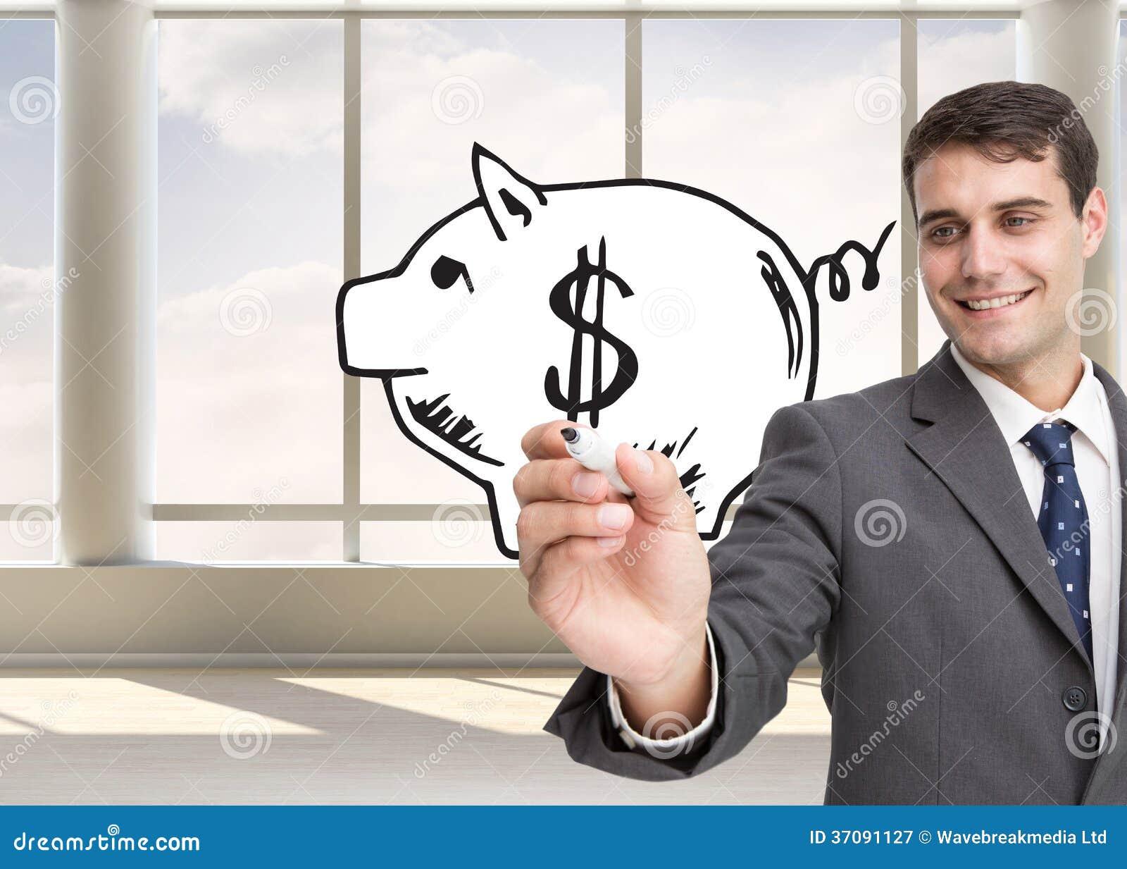 Download Młody Biznesmena Writing Coś Obraz Stock - Obraz złożonej z okno, komputer: 37091127