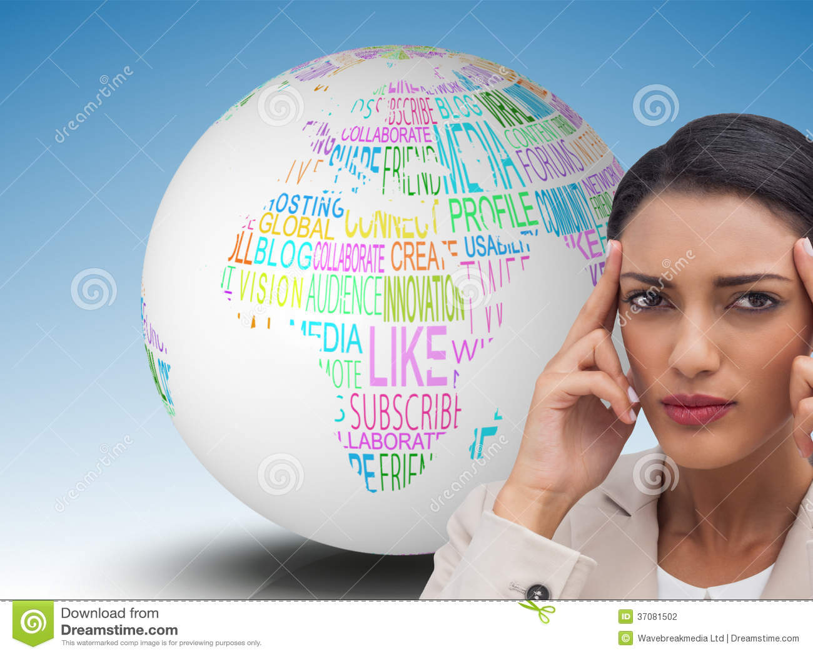 Download Młody Bizneswoman Stawia Ona Palce Na Jej świątyniach Zdjęcie Stock - Obraz złożonej z prenumeruje, jeden: 37081502
