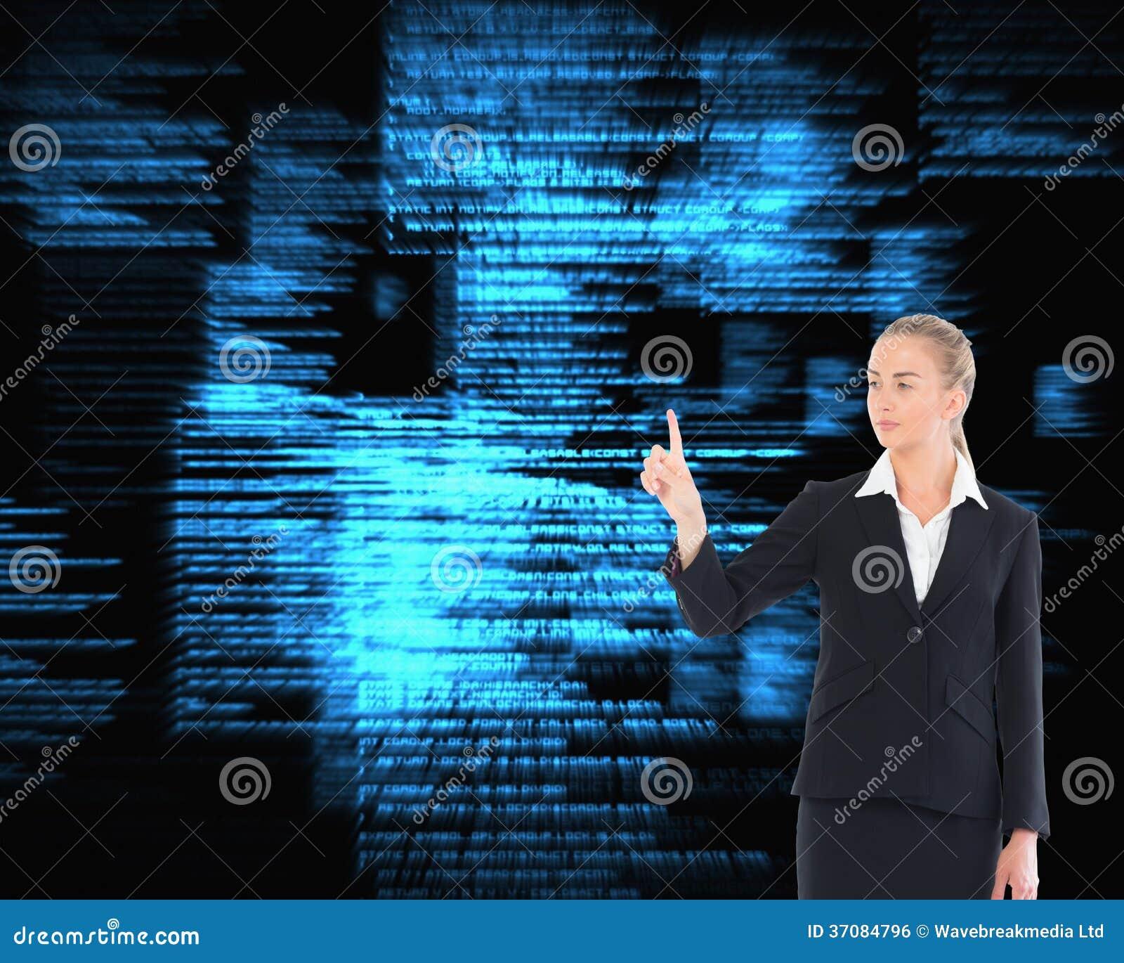 Download Młody Blondynki Biznesowej Kobiety Wskazywać Zdjęcie Stock - Obraz złożonej z tła, programy: 37084796