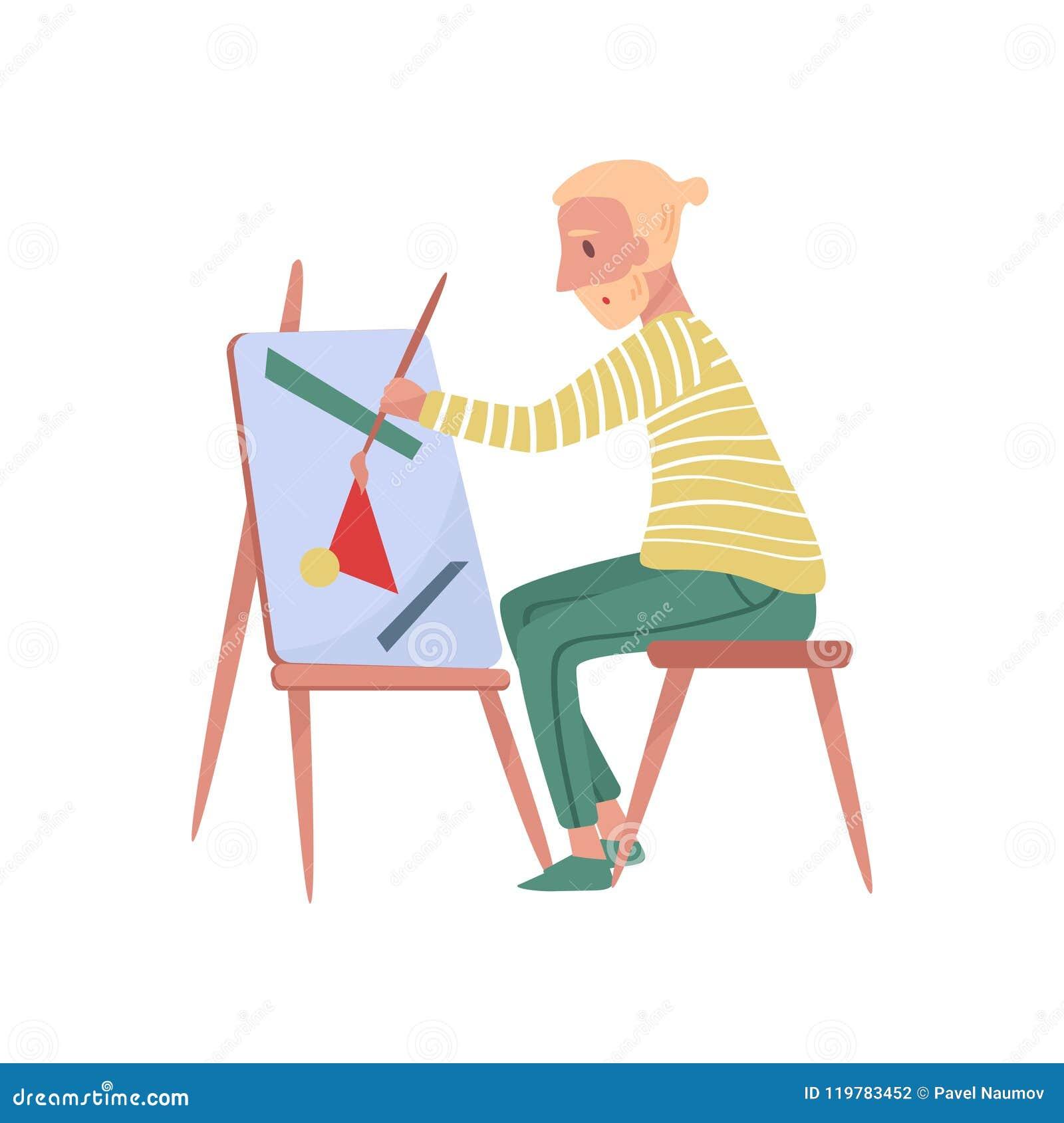 Młody brodaty mężczyzna obsiadanie na krzesło obrazie na kanwie Fachowy malarz Utalentowanego artysty Płaska wektorowa ilustracja