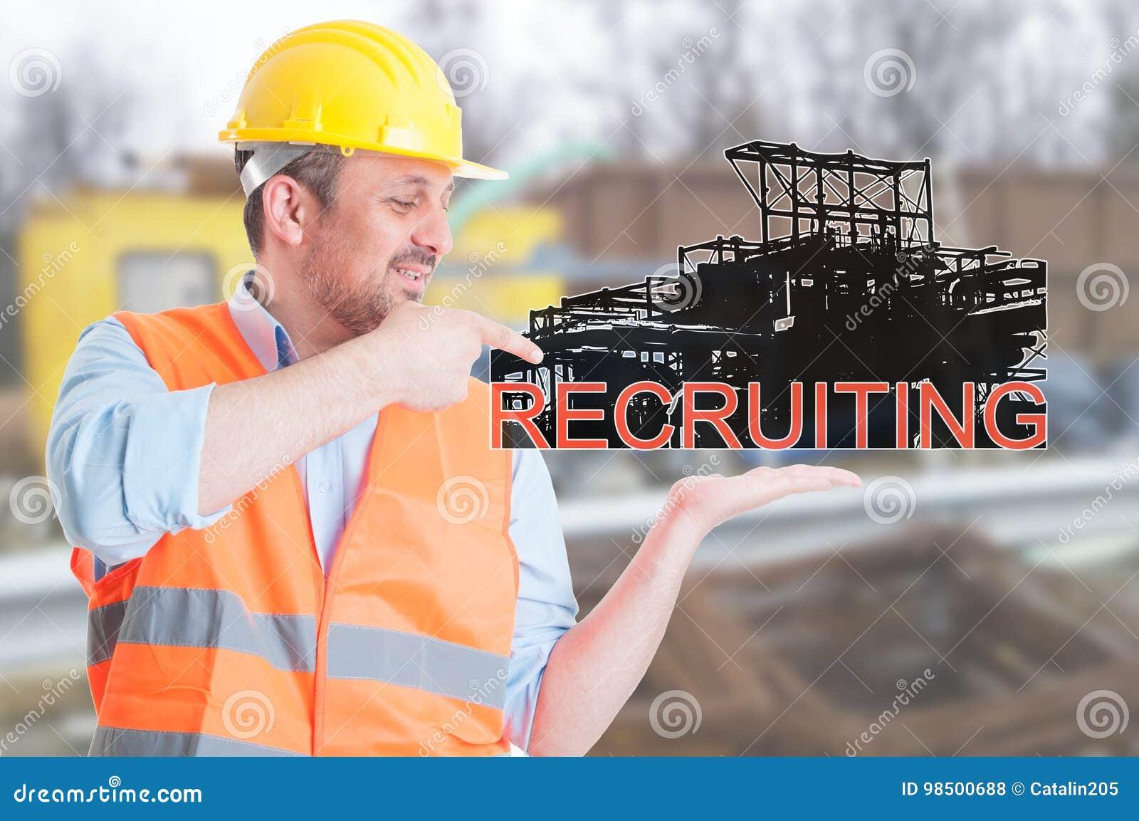 Młody budowniczy promuje inżynierii rekrutację