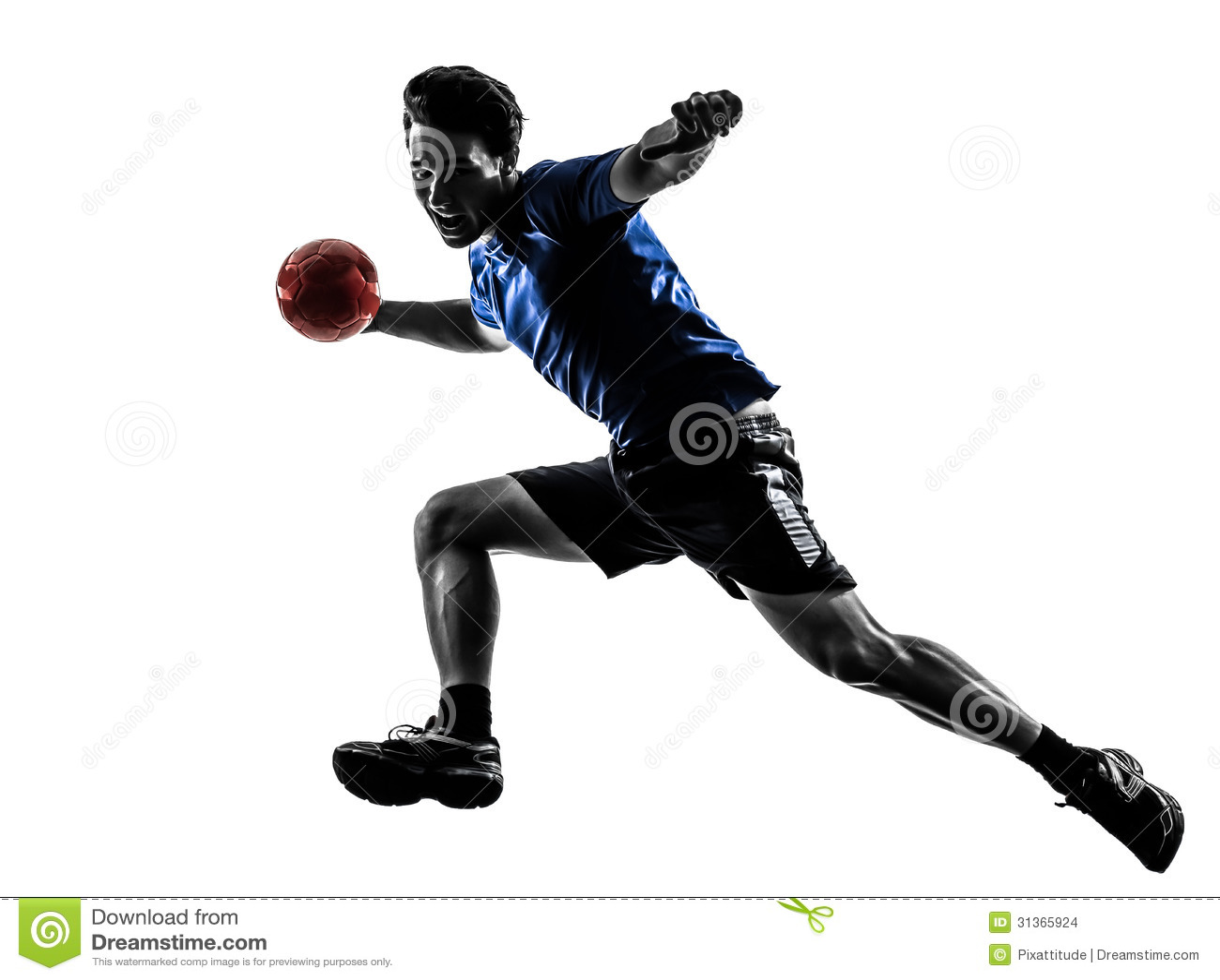 Młody człowiek ćwiczy handball gracza sylwetkę