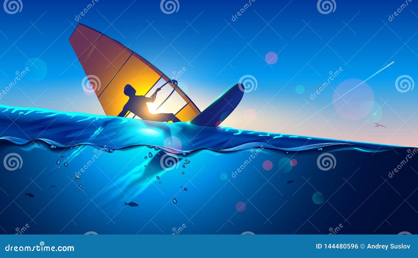 _ Młody człowiek na wiatrowym surfing deski lataniu przy falami Windsurfer na morze krajobrazie sport ekstremalny