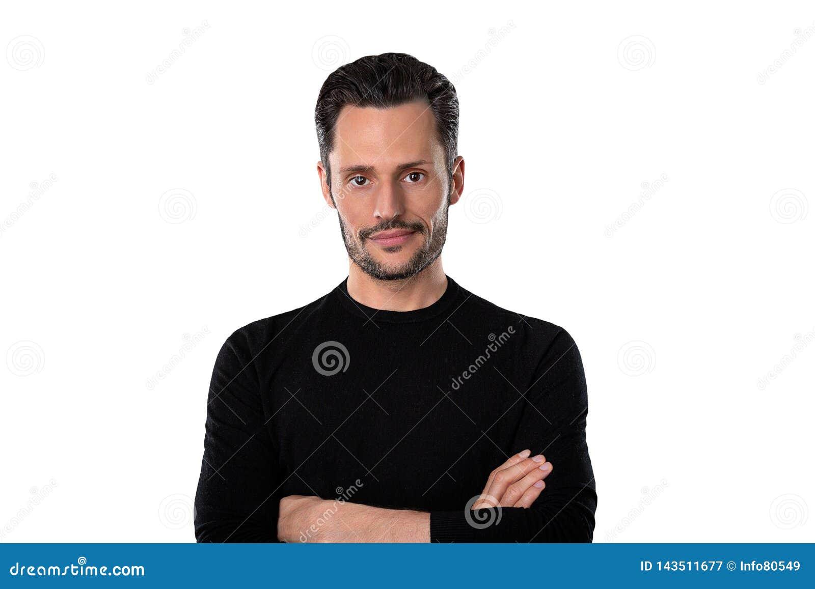 Młody człowiek ręka krzyżująca z białym tłem
