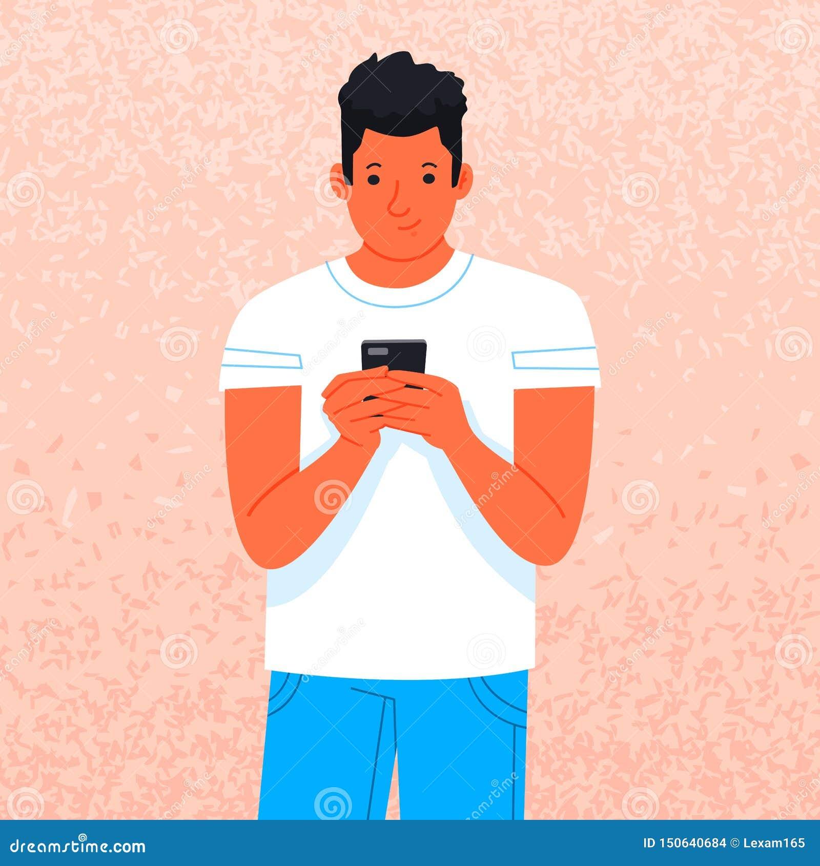Młody człowiek używa smartphone Facet trzyma gadżet Rozrywka w ogólnospołecznych sieciach