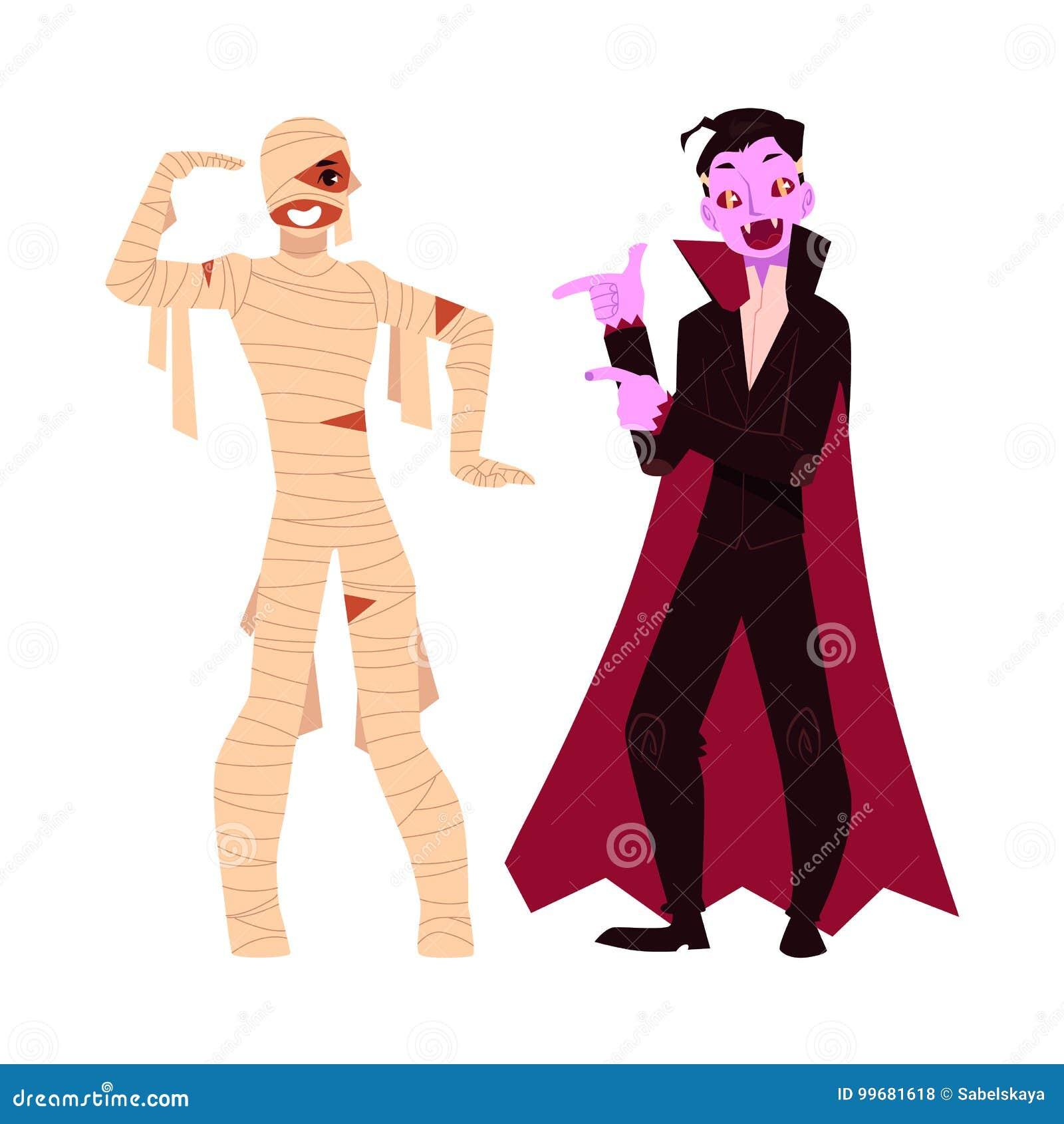 Młody człowiek ubierał w Halloween przyjęcia kostiumach - mamusia i wampir