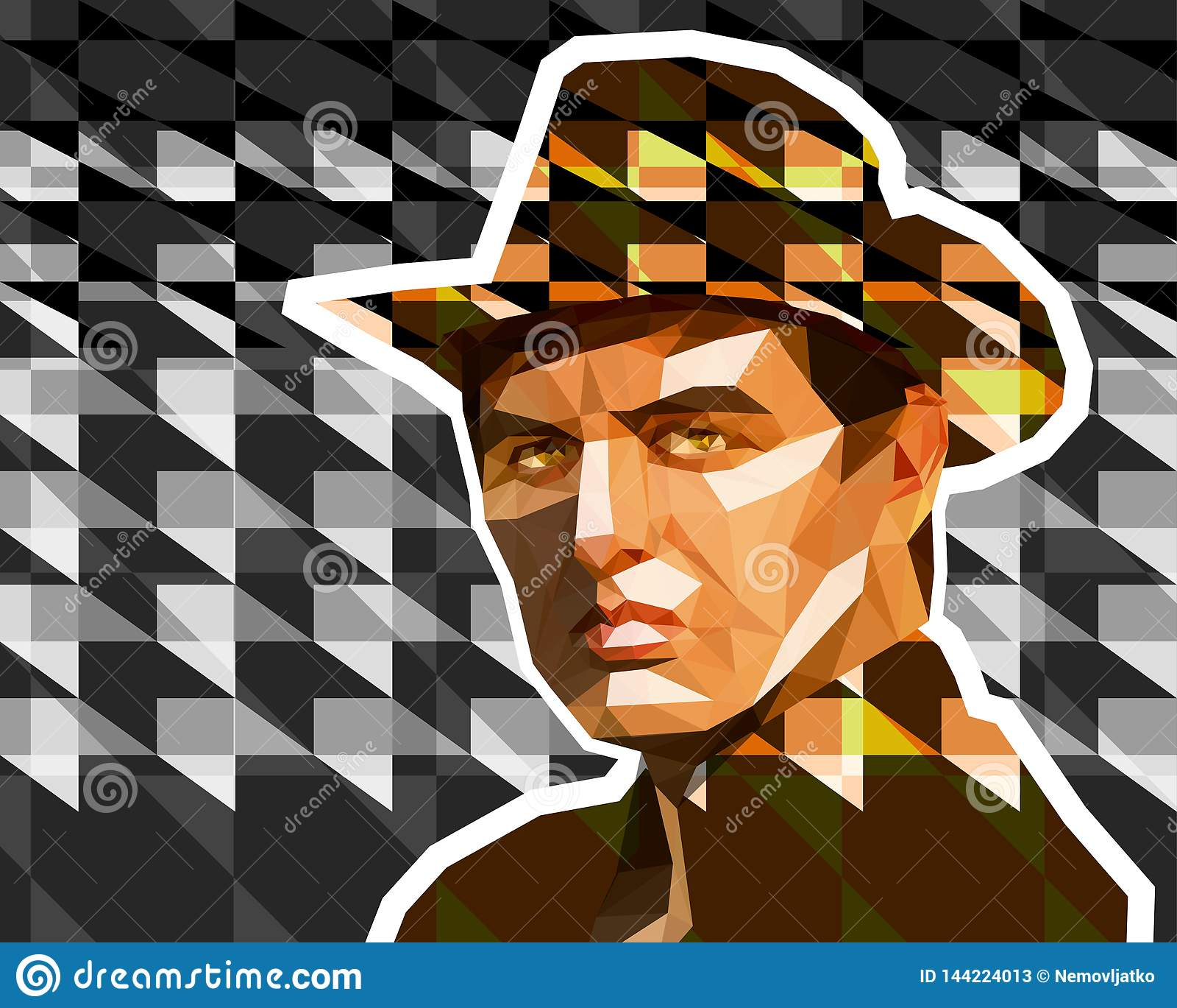 Młody człowiek w brązu kowbojskim kapeluszu