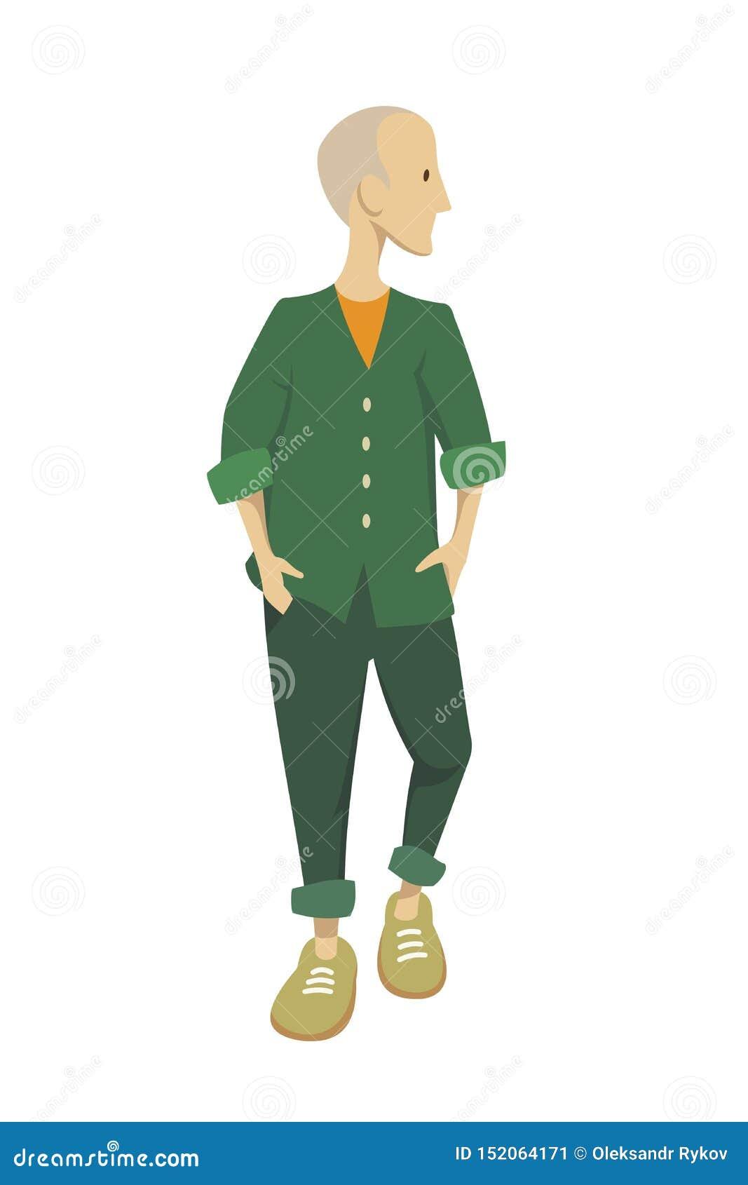Młody człowiek w zielonej kurtce