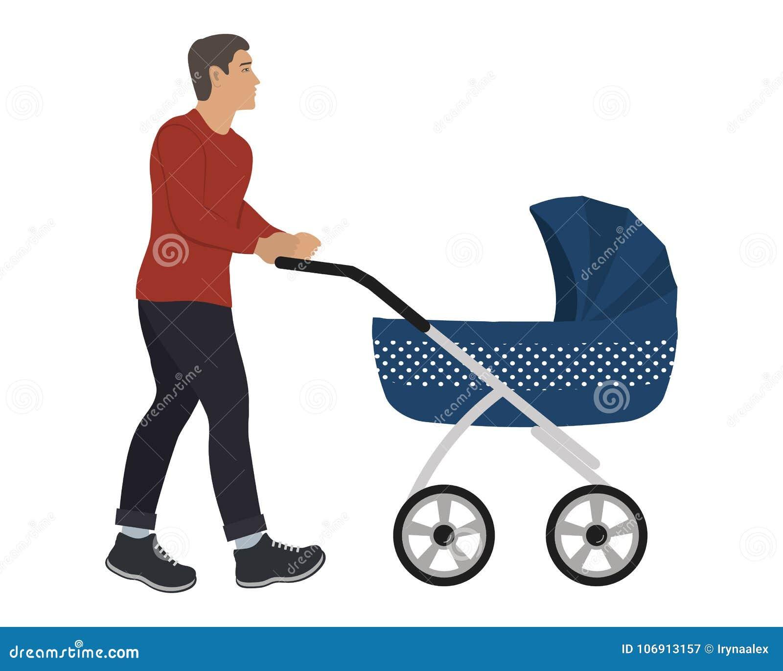 Młody człowiek z błękitnym wózkiem spacerowym