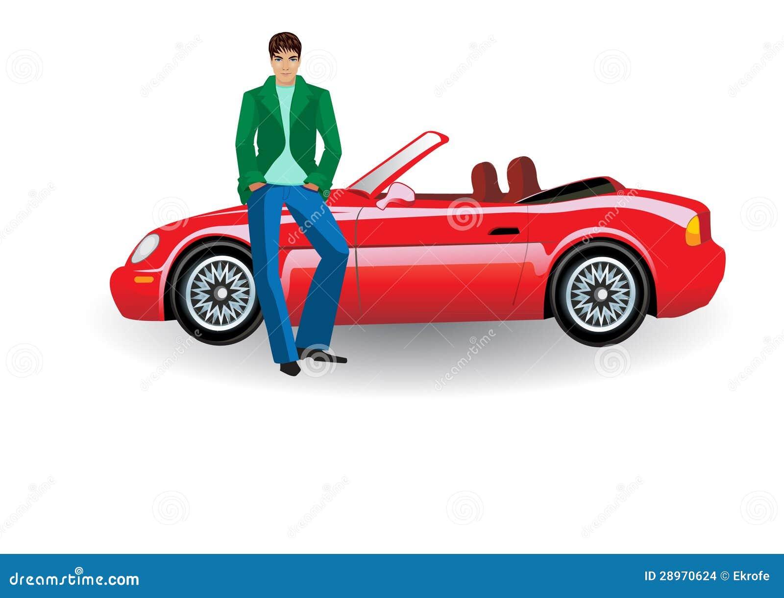Młody człowiek z czerwonym odwracalnym samochodem,