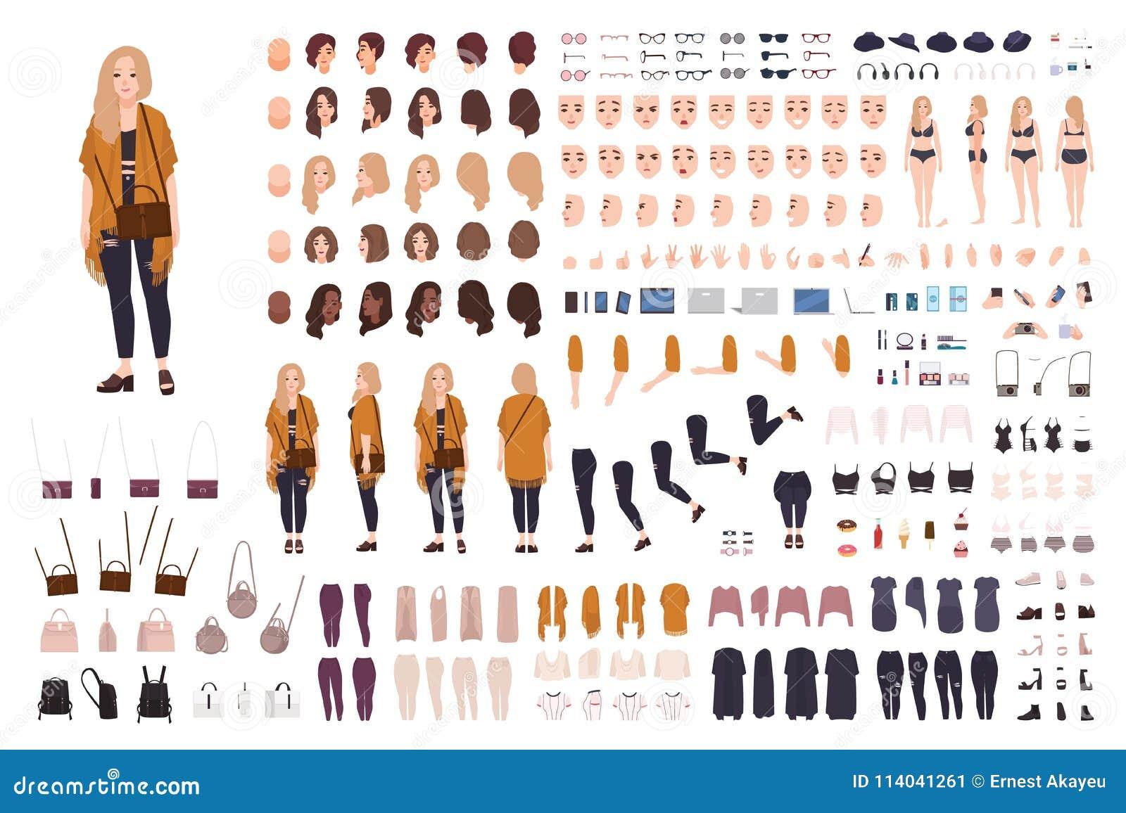 Młody gruby curvy kobiety, plus dziewczyny wielkościowy konstruktor lub Set części ciała, wyrazy twarzy, odziewa