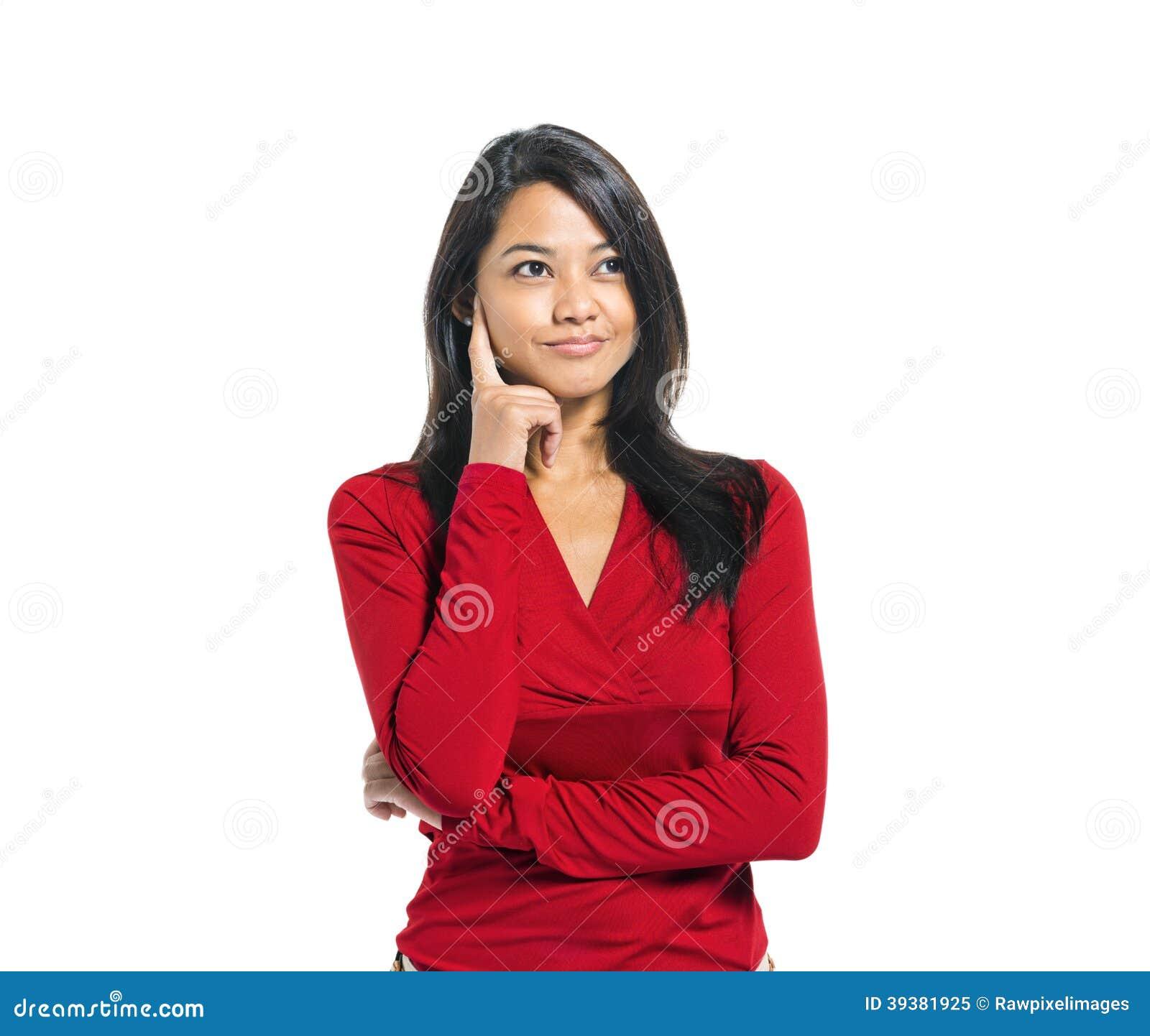 Młody Przypadkowy Azjatycki kobiety główkowanie