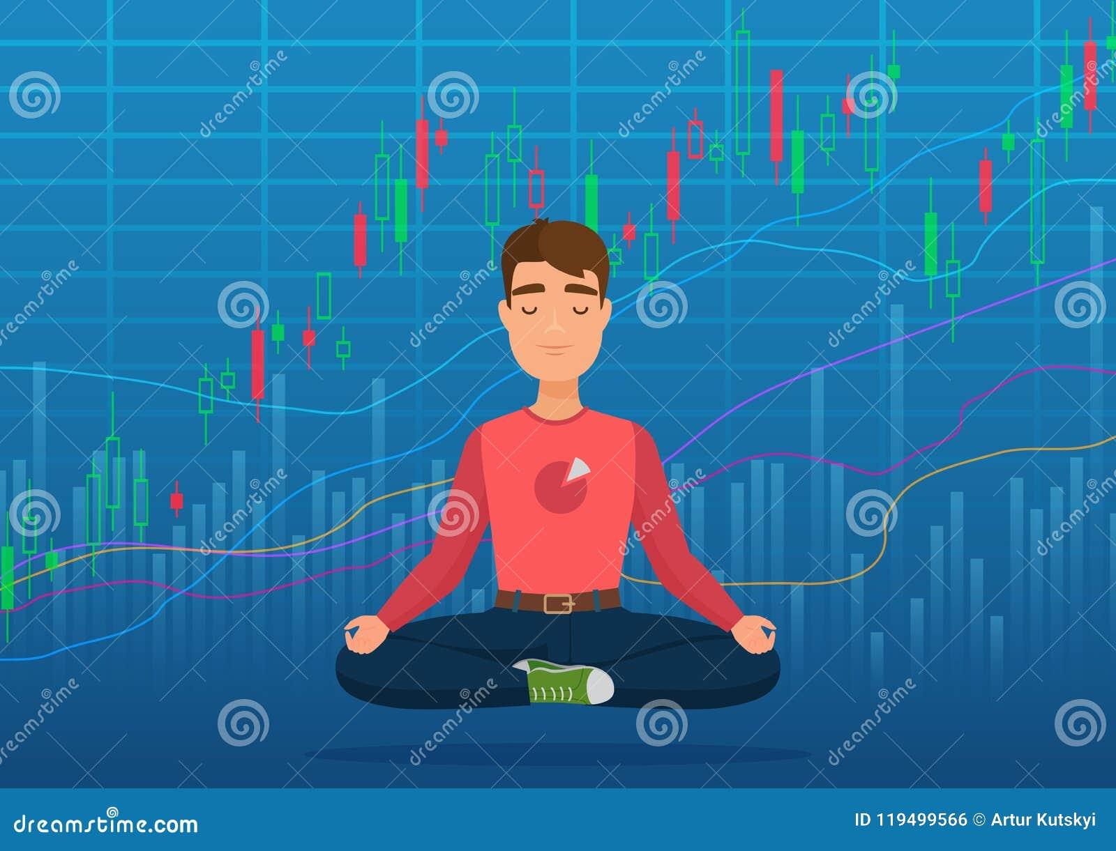Młody szczęśliwy mężczyzna handlowiec medytuje pod crypto lub rynku papierów wartościowych wymiany mapy pojęciem Biznesowy handlo