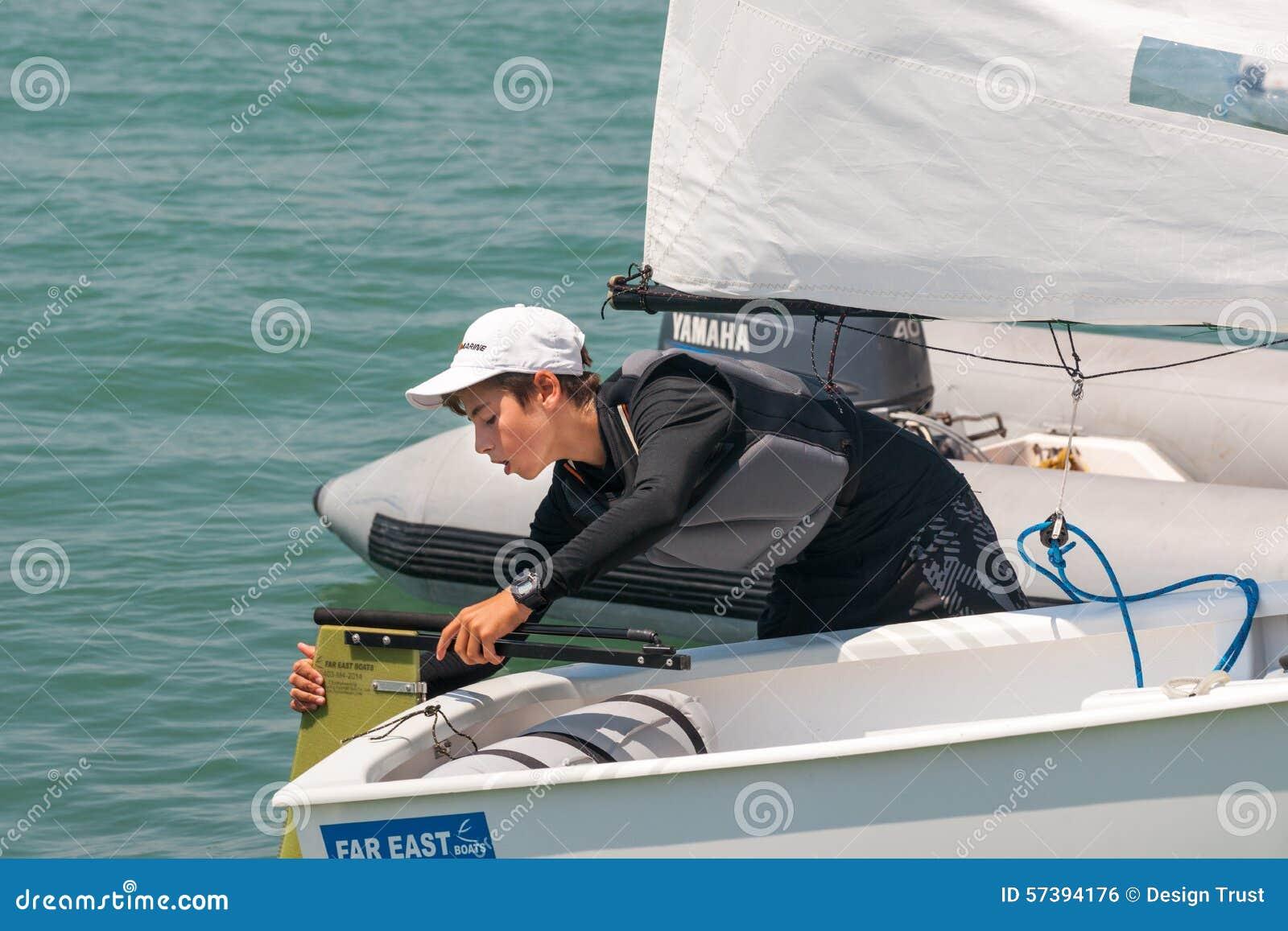 Młody yachtsman Pomorie Bułgaria