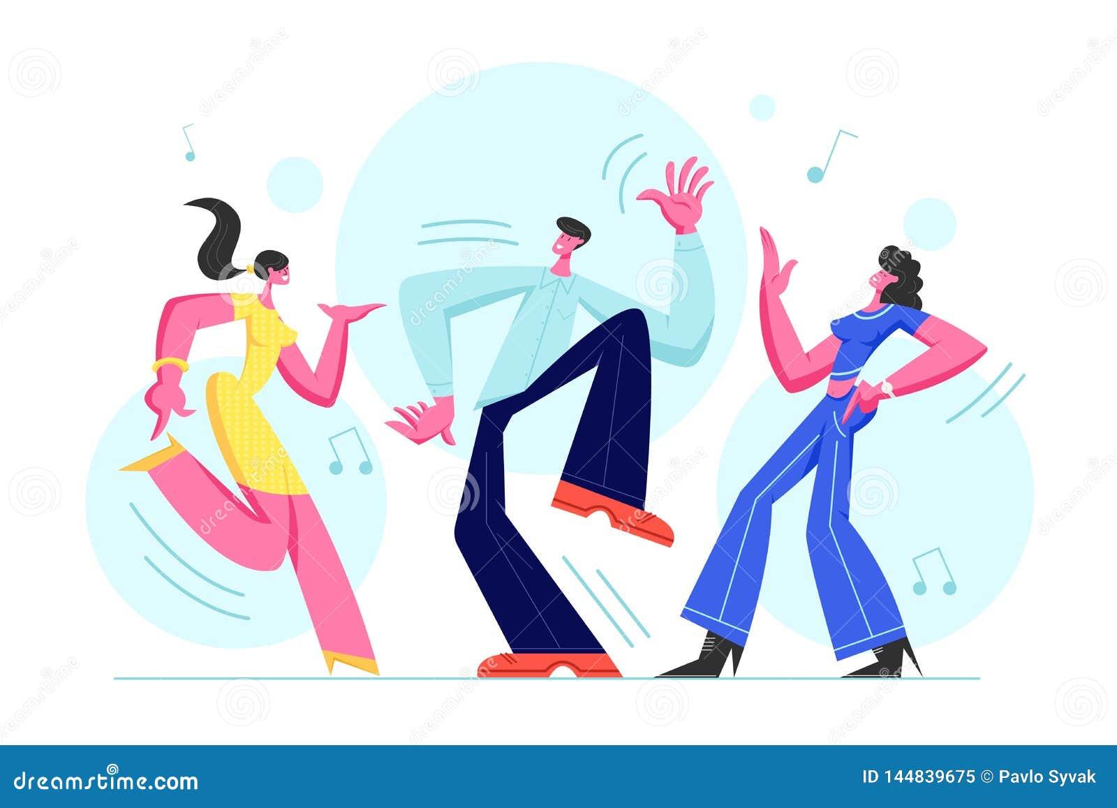 Młodzi Ludzie Tanczy na dyskoteki przyjęciu Mężczyzna i kobiety w Fasonującym Ubraniowym odświętność wakacje, Wydaje cza