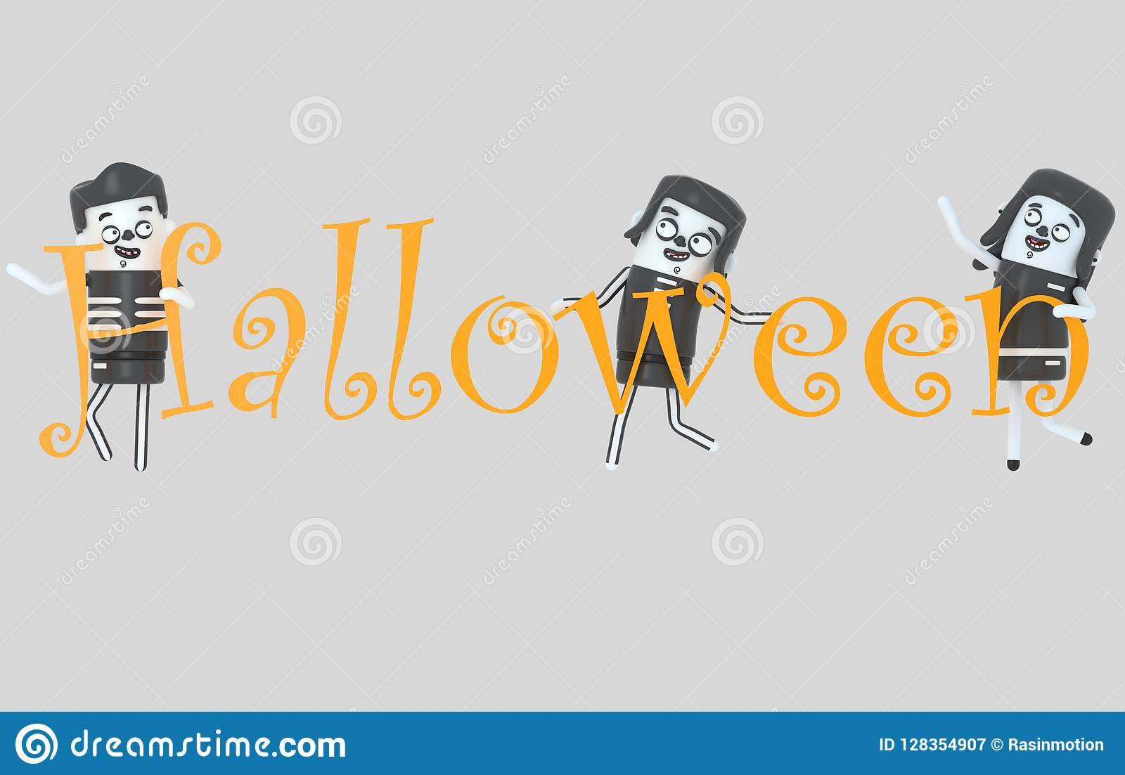 Młodzi ludzie trzyma Halloween listy w kostiumach ilustracja 3 d