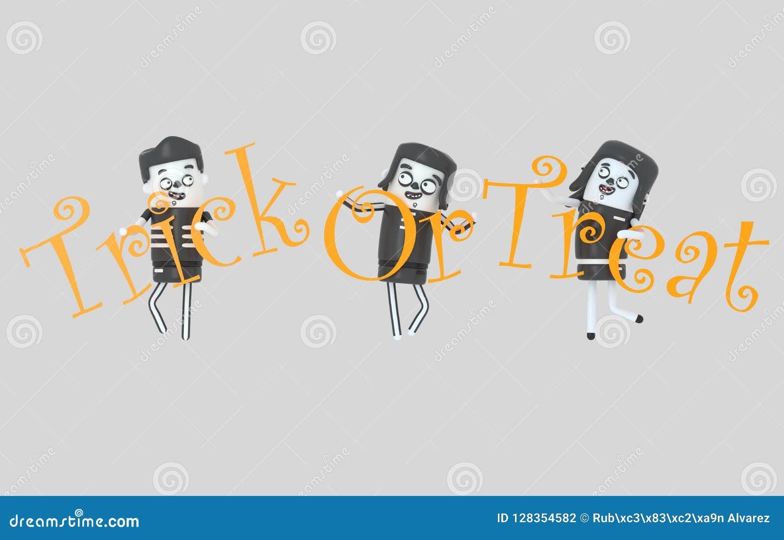 Młodzi ludzie trzyma trikowy na funda listach w kostiumach halloween ilustracja 3 d