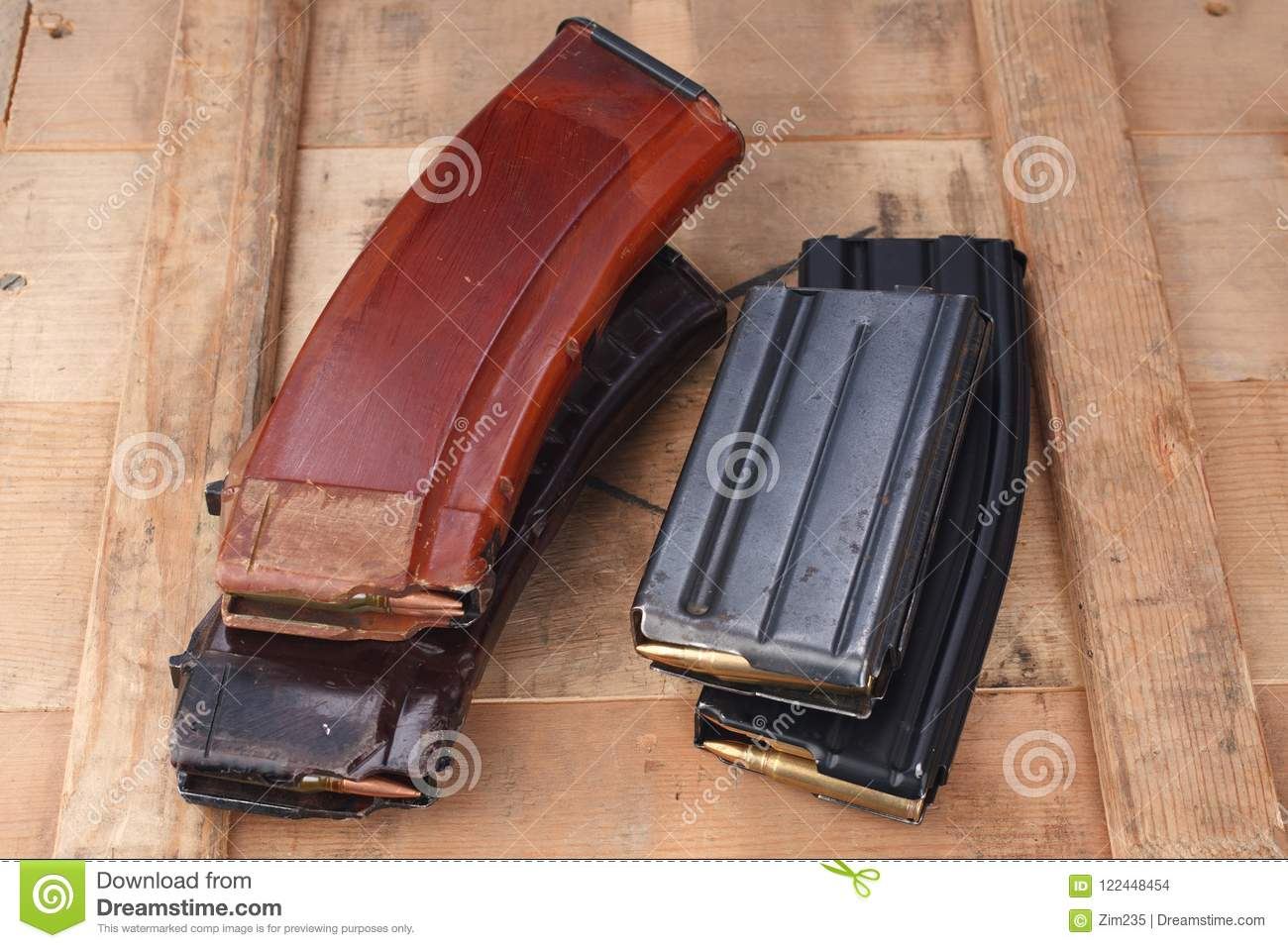 M16 And Ak47 Magazins On Wooden Box Stock Photo - Image of