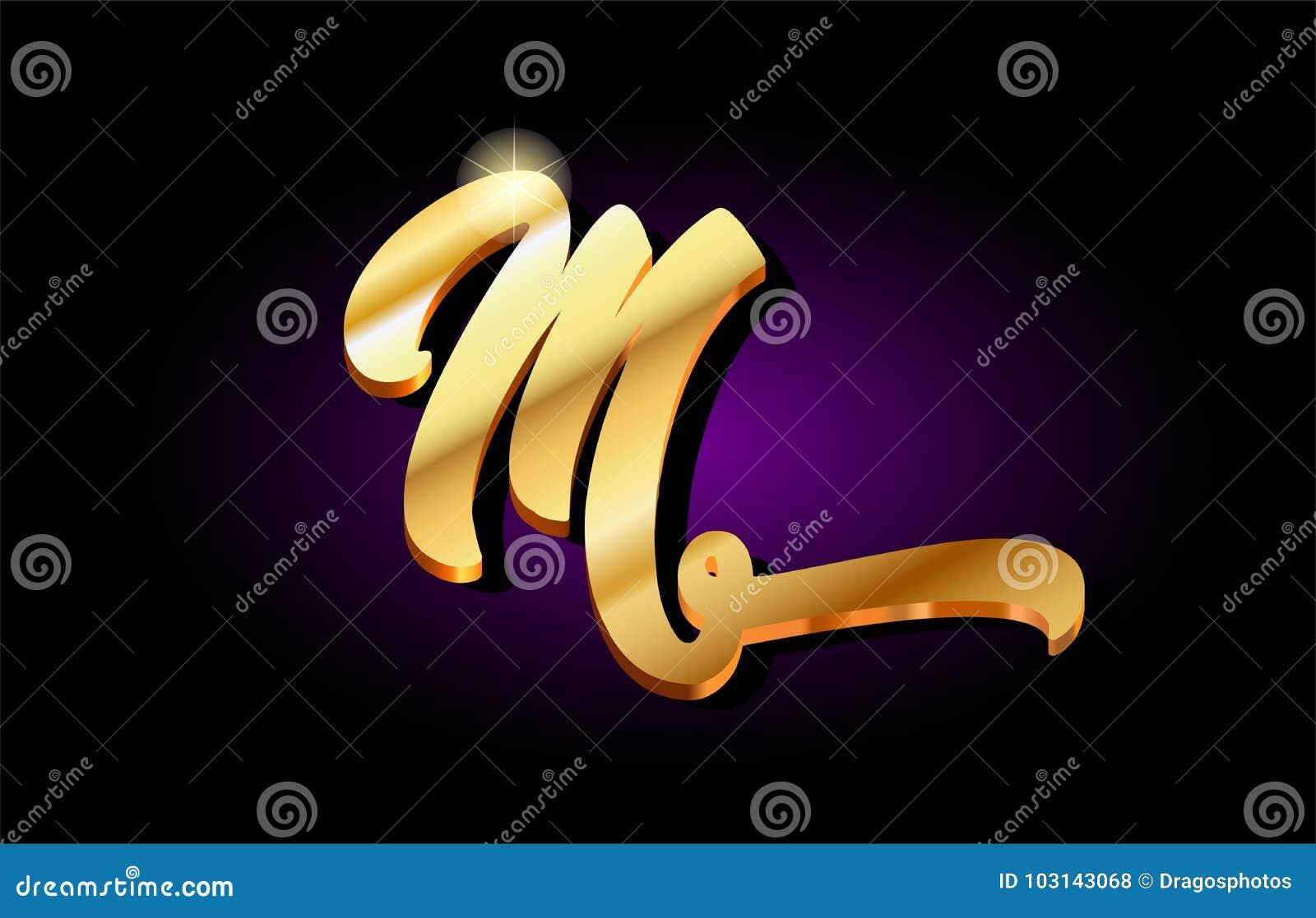 M Alphabet Letter Golden 3d Logo Icon Design Stock Vector