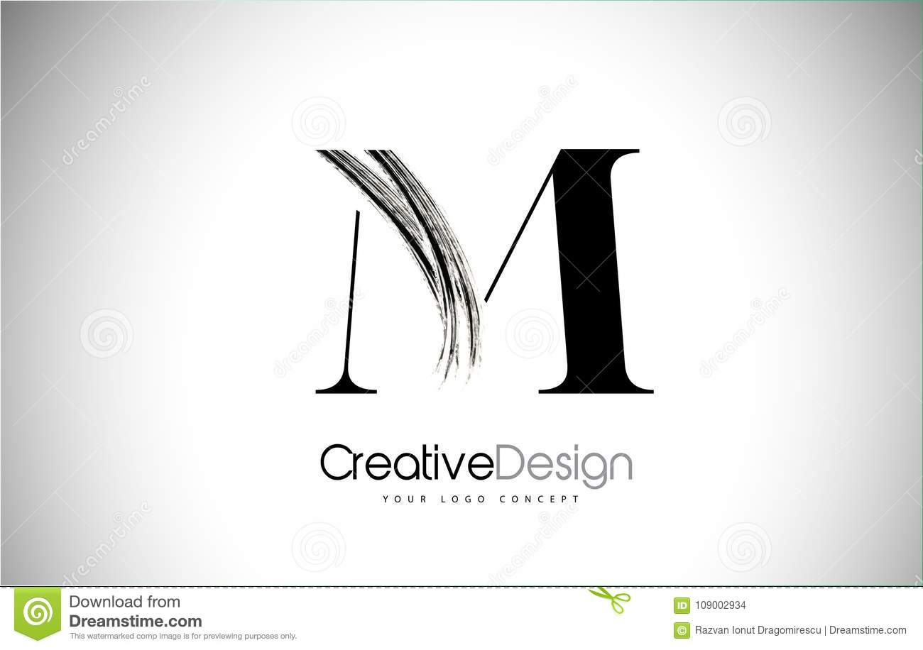M Brush Stroke Letter Logo Design Pintura preta Logo Leters Icon