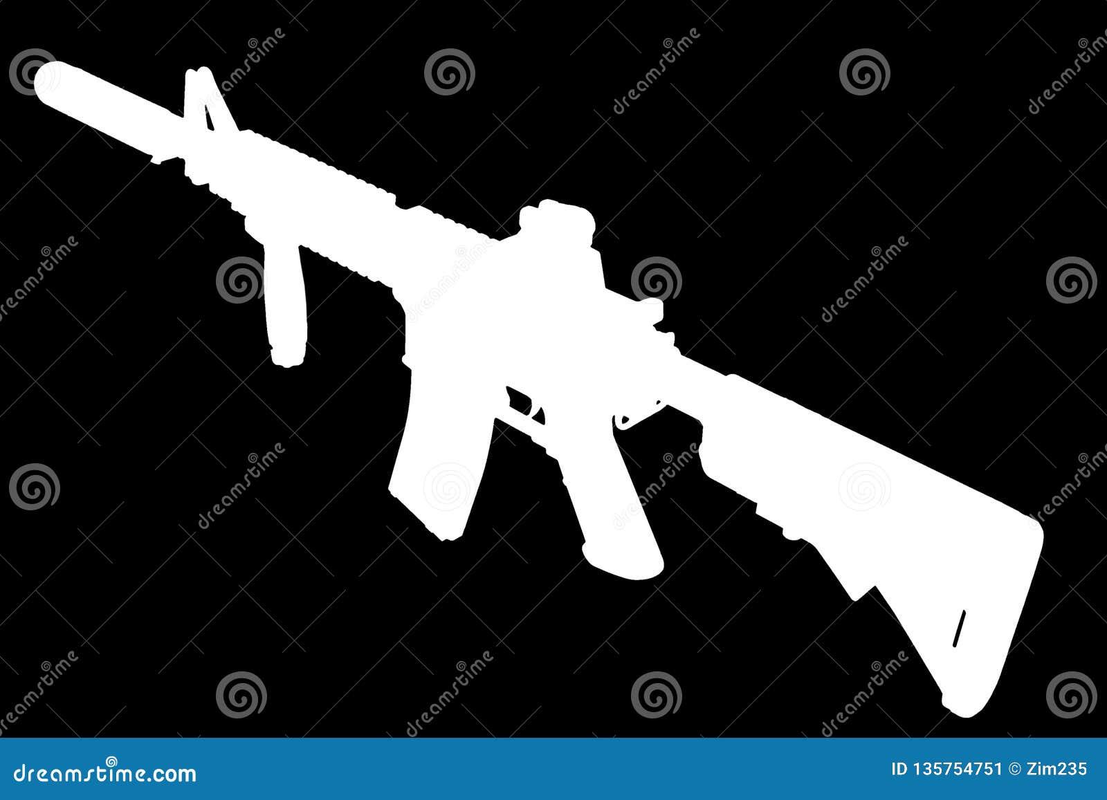 M4 con el supresor - silueta del rifle de las fuerzas especiales