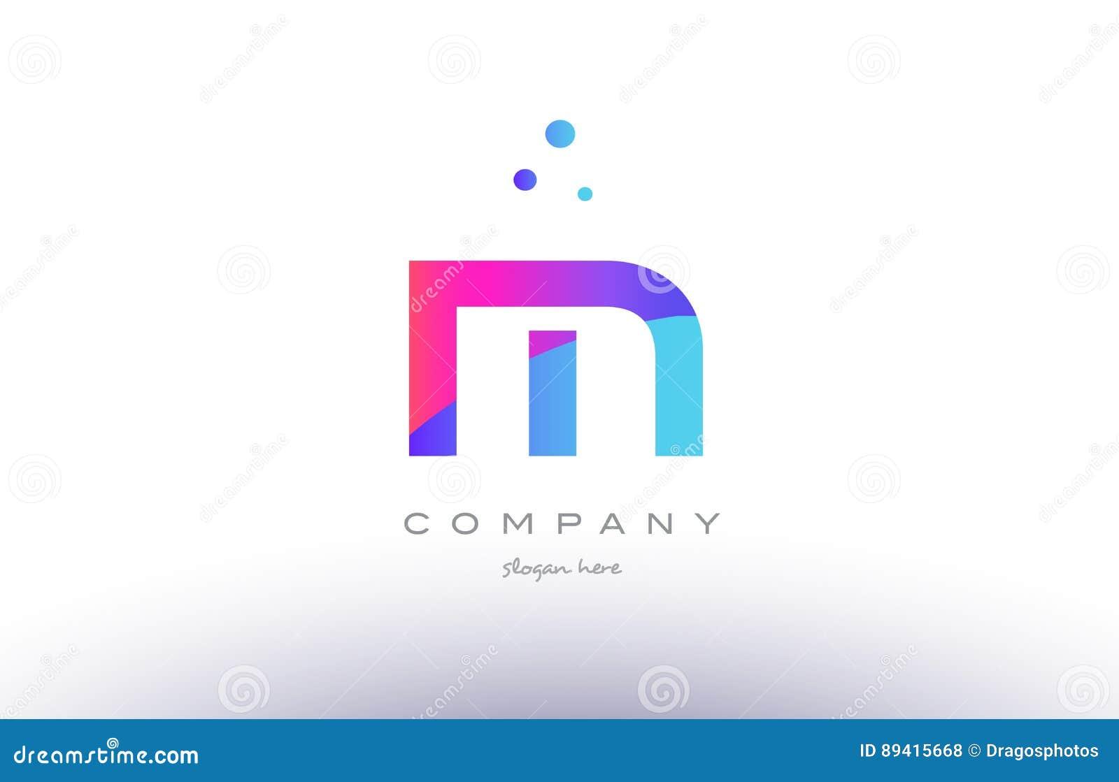 M Creative Pink Blue Modern Alphabet Letter Logo Icon Template Stock