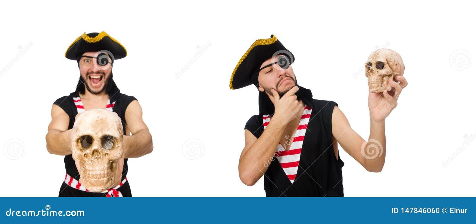 M??czyzna pirat odizolowywaj?cy na bia?ym tle