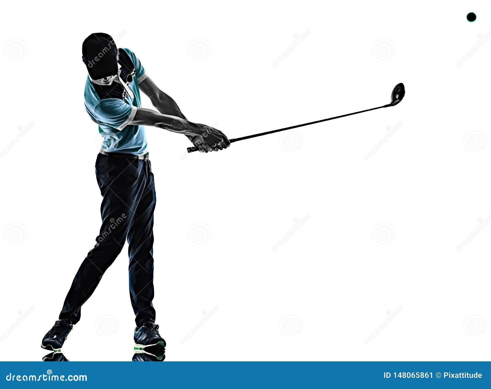 M??czyzny Golfowy golfista gra? w golfa odizolowywaj?cego cie? sylwetki bielu t?o