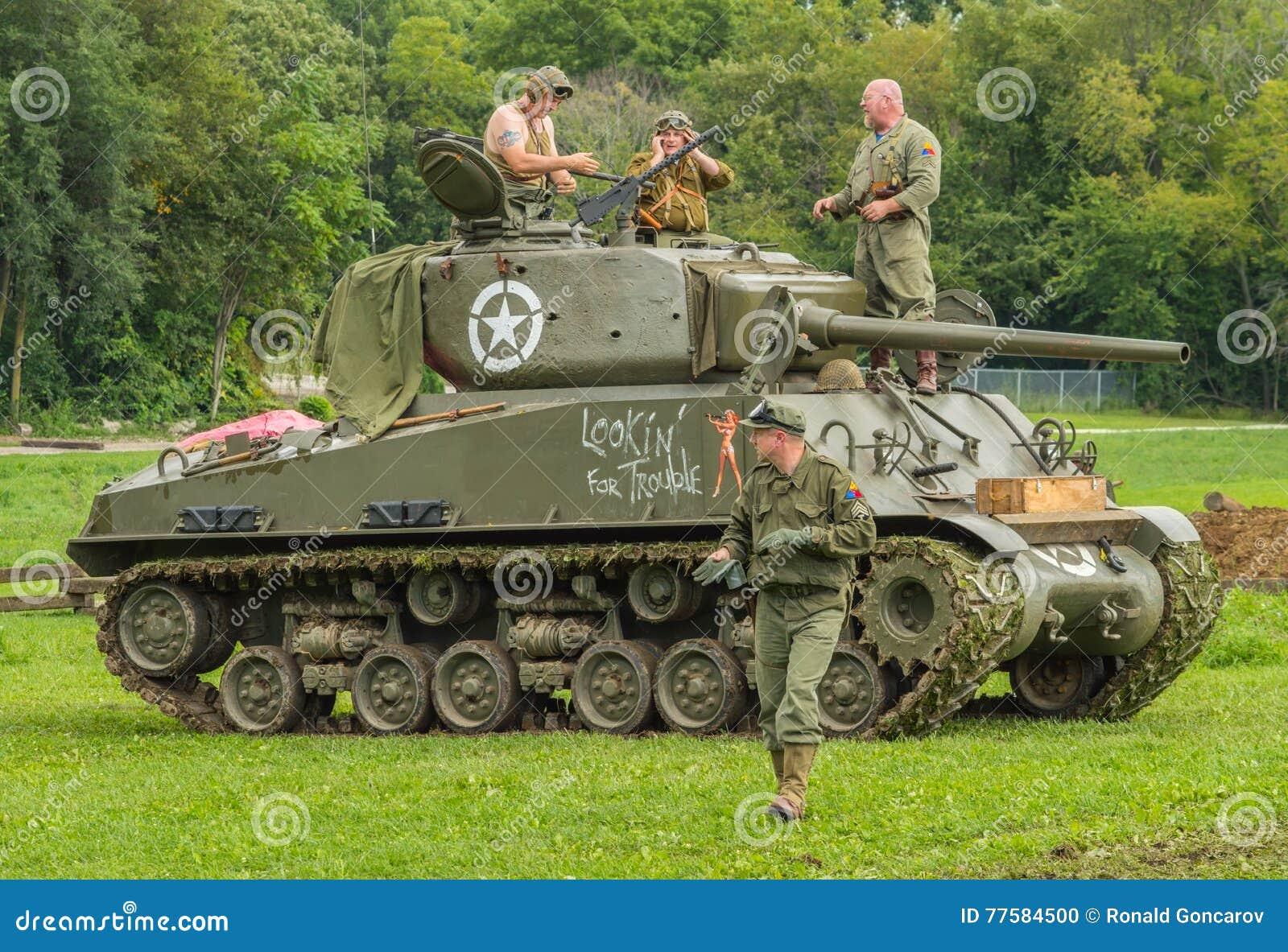 M4A3E8 Sherman Tank With Crew Memebers Editorial Image