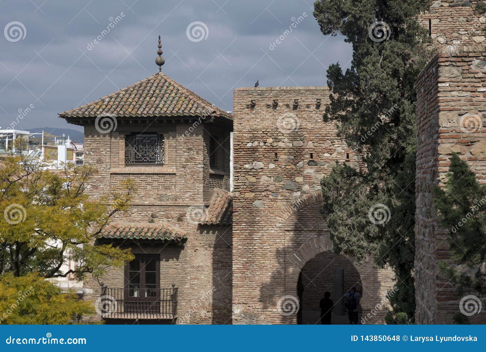 M?laga, Spanien, im Februar 2019 Die Festung von Alcazaba ist eine arabische Verst?rkung auf Berg Gibralfaro in der spanischen St