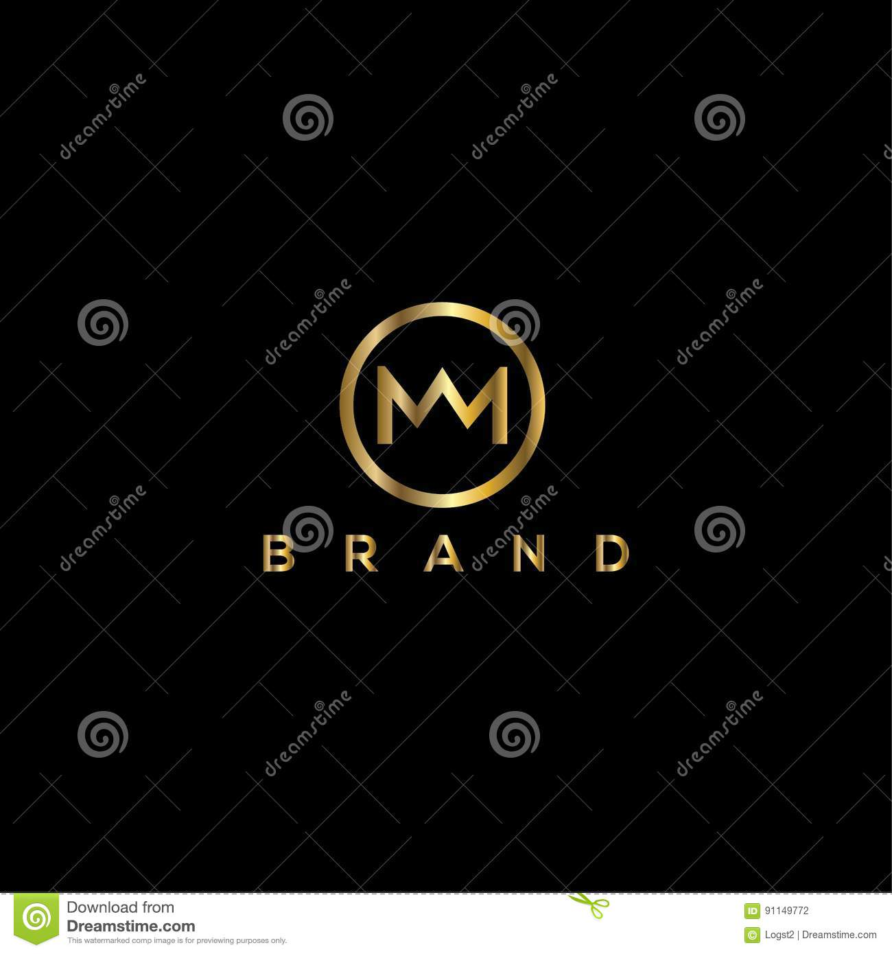 M Letter Crown Vector Logo Design Template Stock Vector