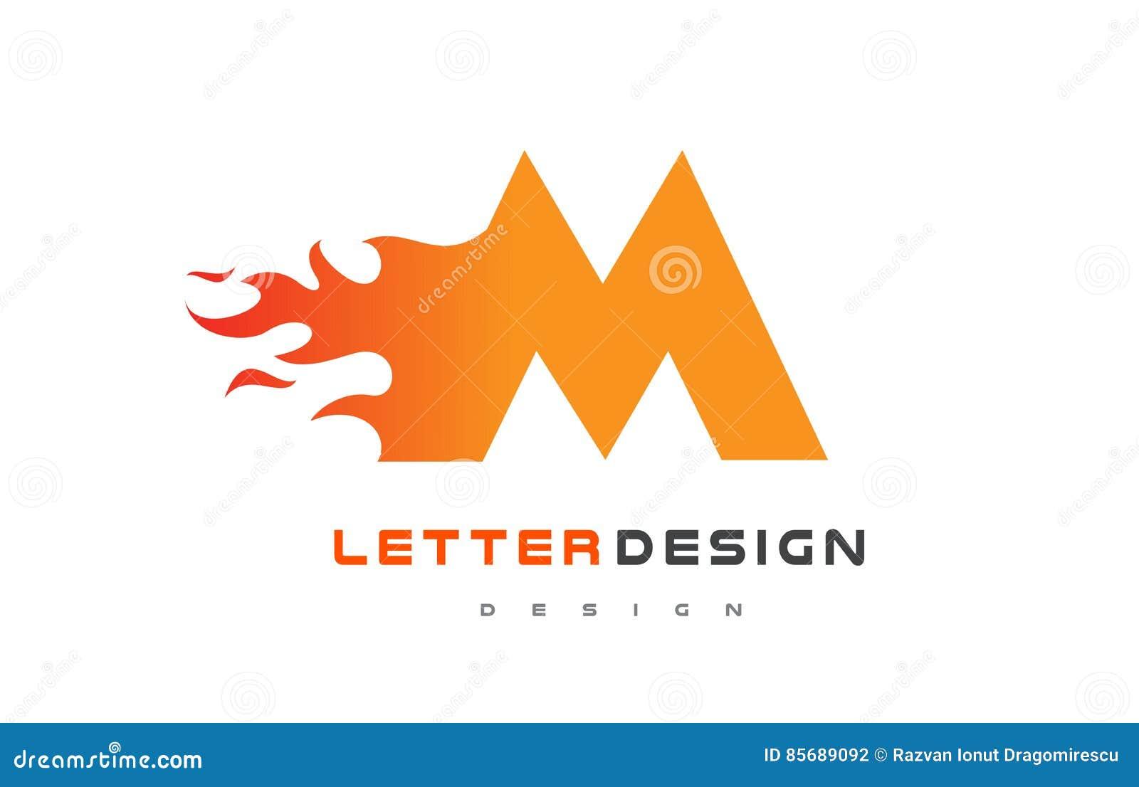 M Letter Flame Logo Design. Fire Logo Lettering Concept. Stock ...