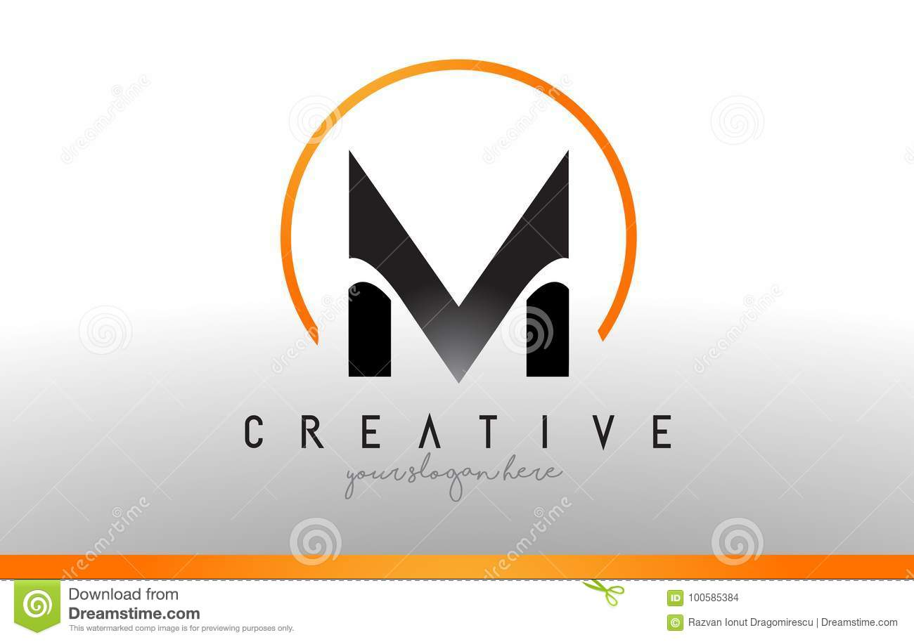 M Letter Logo Design With Black Orange Color Cool Modern Icon T